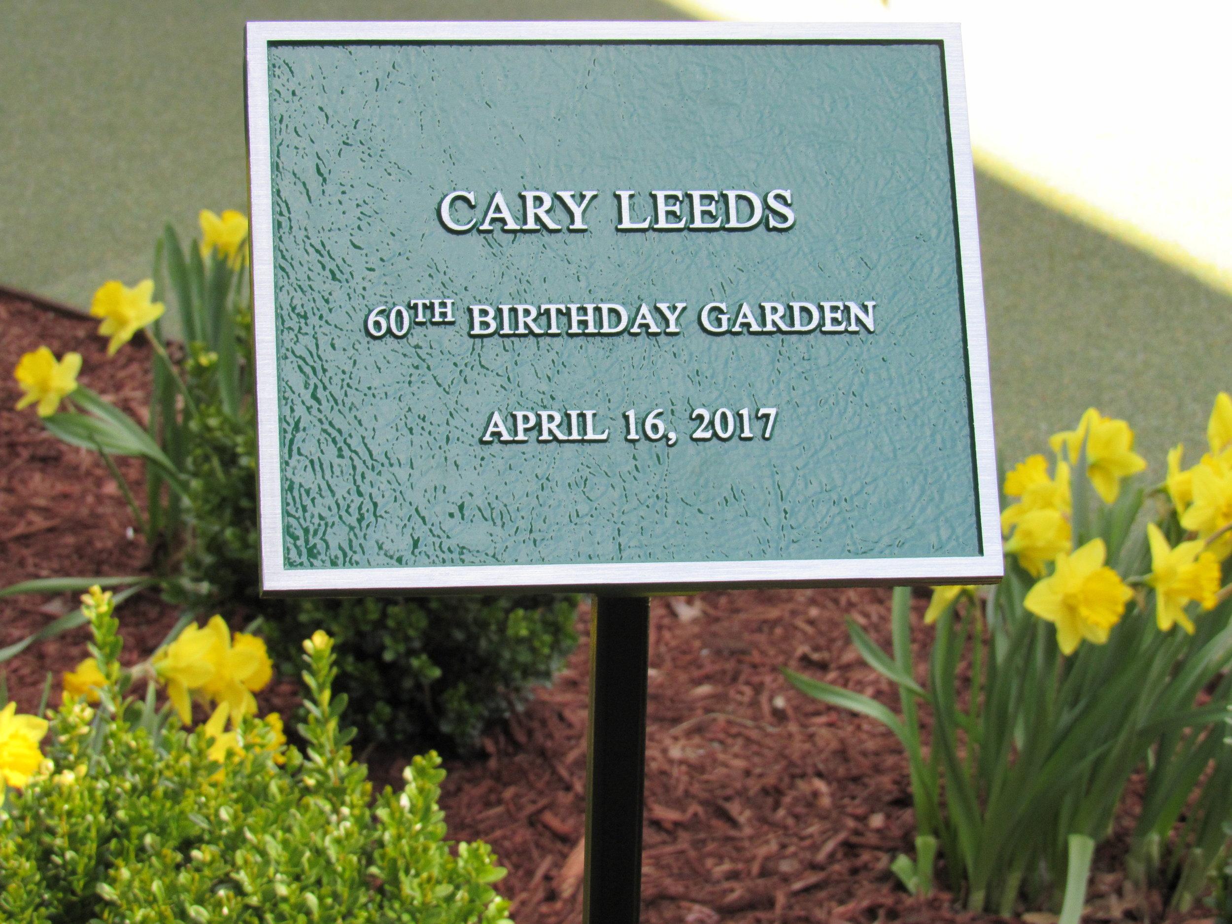 Cary Leeds 60th Garden Sign.JPG