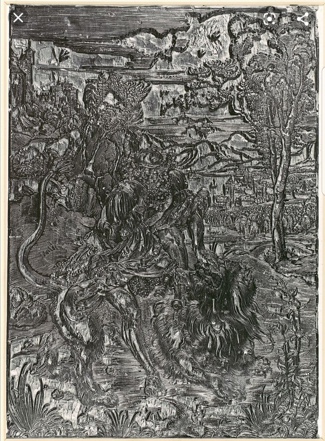 The block from Durer's Samson Rending the Lion. Year 1497-98