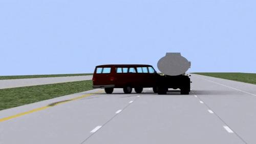 Van Crashes into Tanker Truck