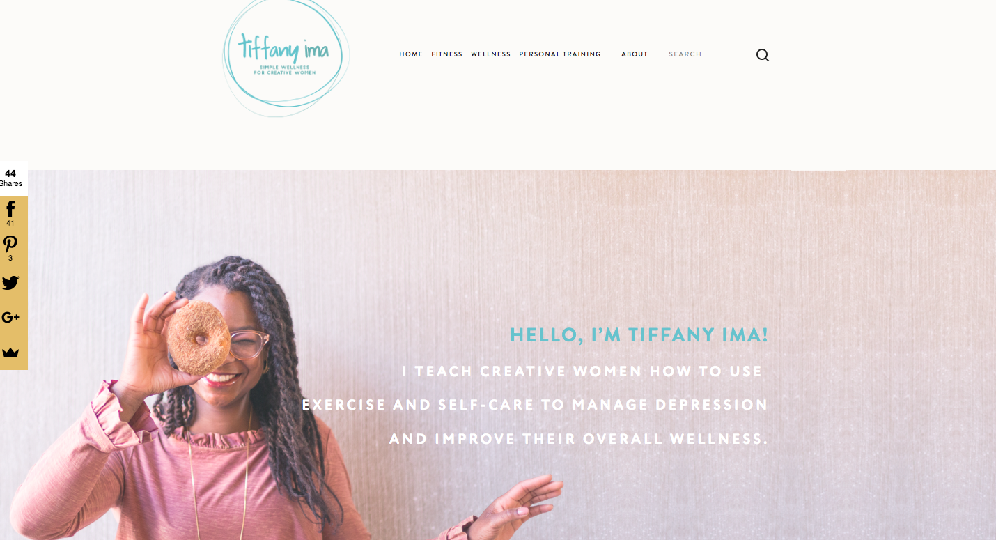 Tiffany. - @TiffanyIma: Teaches creative women how to use exercise and self-care to manage depression + improve their overall wellness. She believes we all can build our own happiness through a simple and holistic approach to wellness. TiffanyIma.com