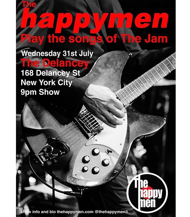 News Of The World from The Happymen.  The band has been very busy working hard on our first record and we are looking forward to the fall and sharing the record with you all.  In sad news our brilliant bassman Tom Mckenna was run over by a car on the way to work and is recovering from some very nasty injuries. We want to wish him a speedy recovery and look forward to Tom returning to the fold. We miss you matey.  So whilst The Happy's are off the road we have decided to spend the time by doing a tribute to The Jam. Being the fans we are, we were lucky to find an equally big fan in Paul Gil. He has the Bruce Foxton thumping bass parts down.  We will be doing a warm up show at The Delancey on Wednesday 31st of July. With more shows to be announced it should be a lot of fun and we are excited to play songs from The Jam's extensive back catalogue.  Cheers  Greg and Colin