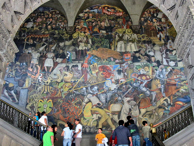 Mural in the main stairwell of the National Palace by Diego Rivera