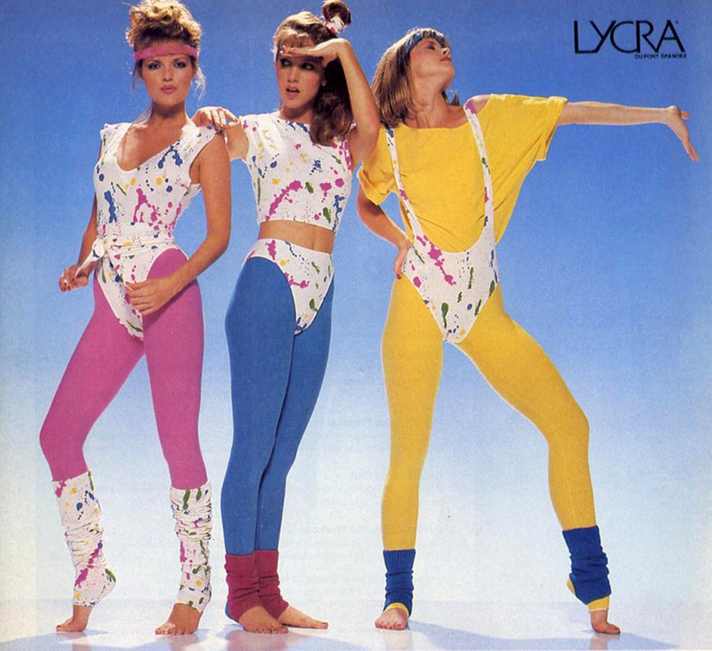 To the 80s: thank you.Iconic image: Lycra Dupont Spandex, found here:https://bit.ly/2OeRECP