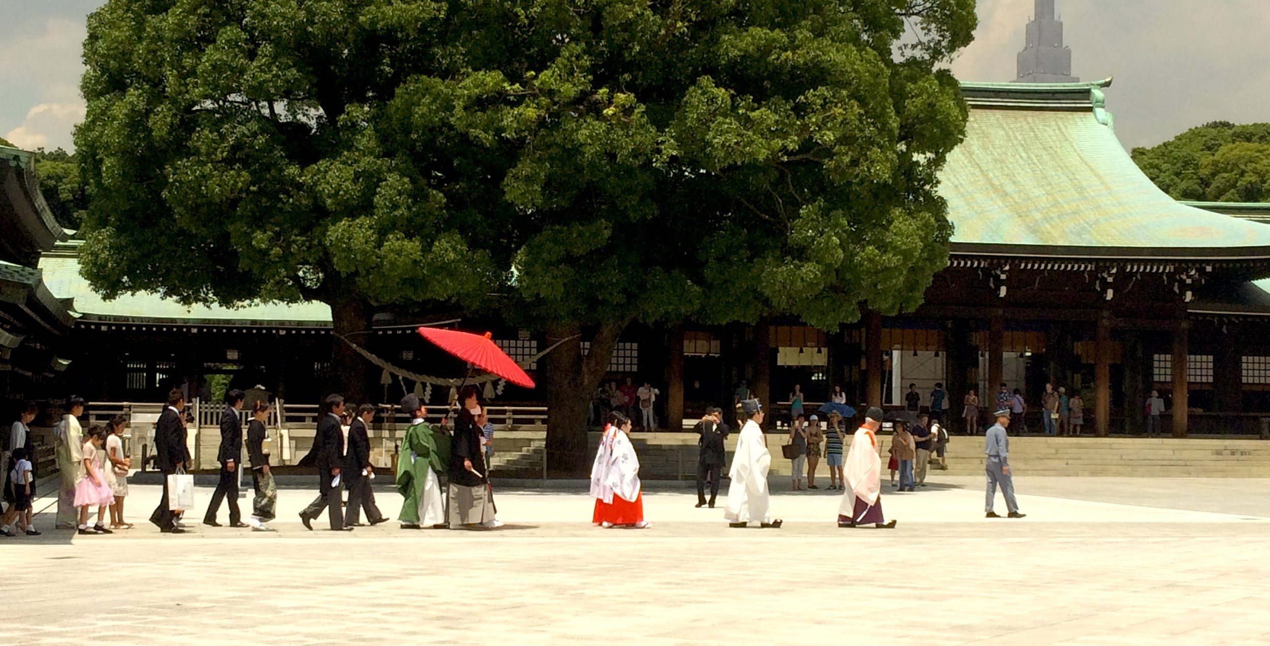 A traditional Shinto wedding I captured walking through a temple in Tokyo, Japan. Generations of tradition here.
