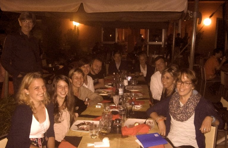 All smiles. My family in Piacenza, welcoming me with a pizza dinner.