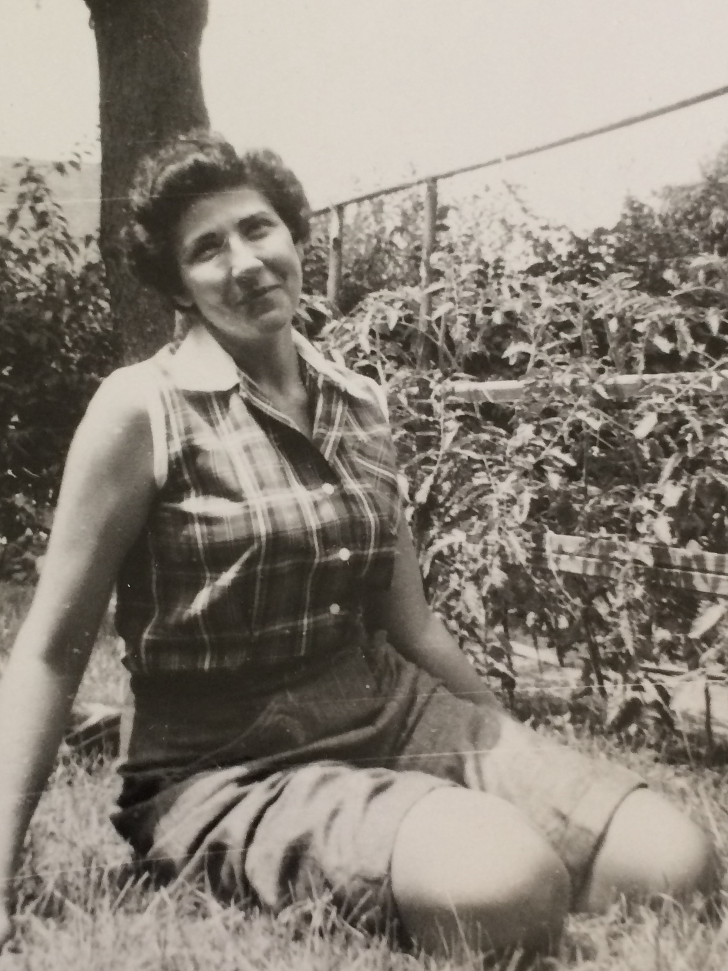 Nonna in the garden, shortly after marrying my Nonno in the 1950s.