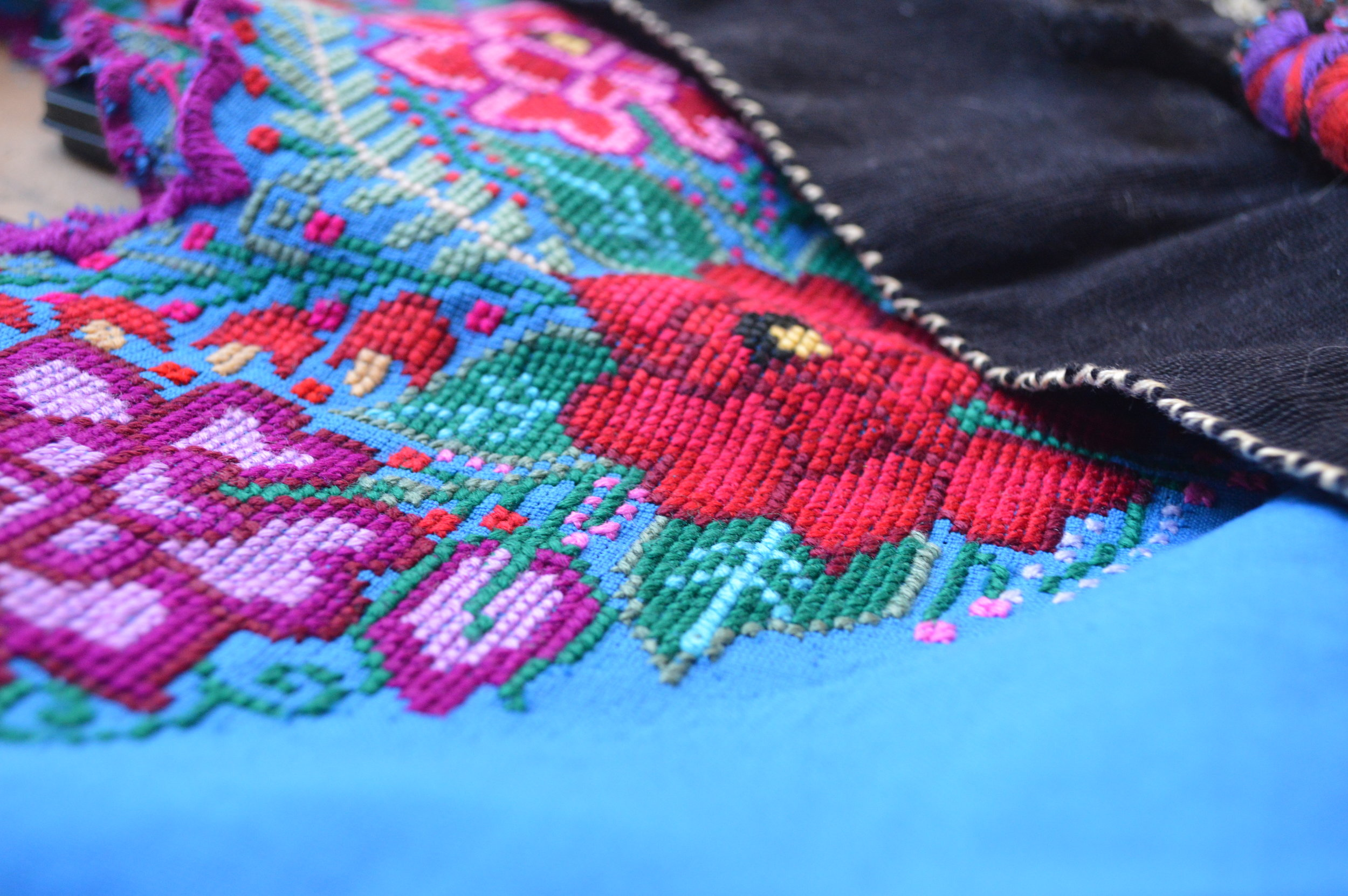 Details of the handiwork of a Chiapas blouse.