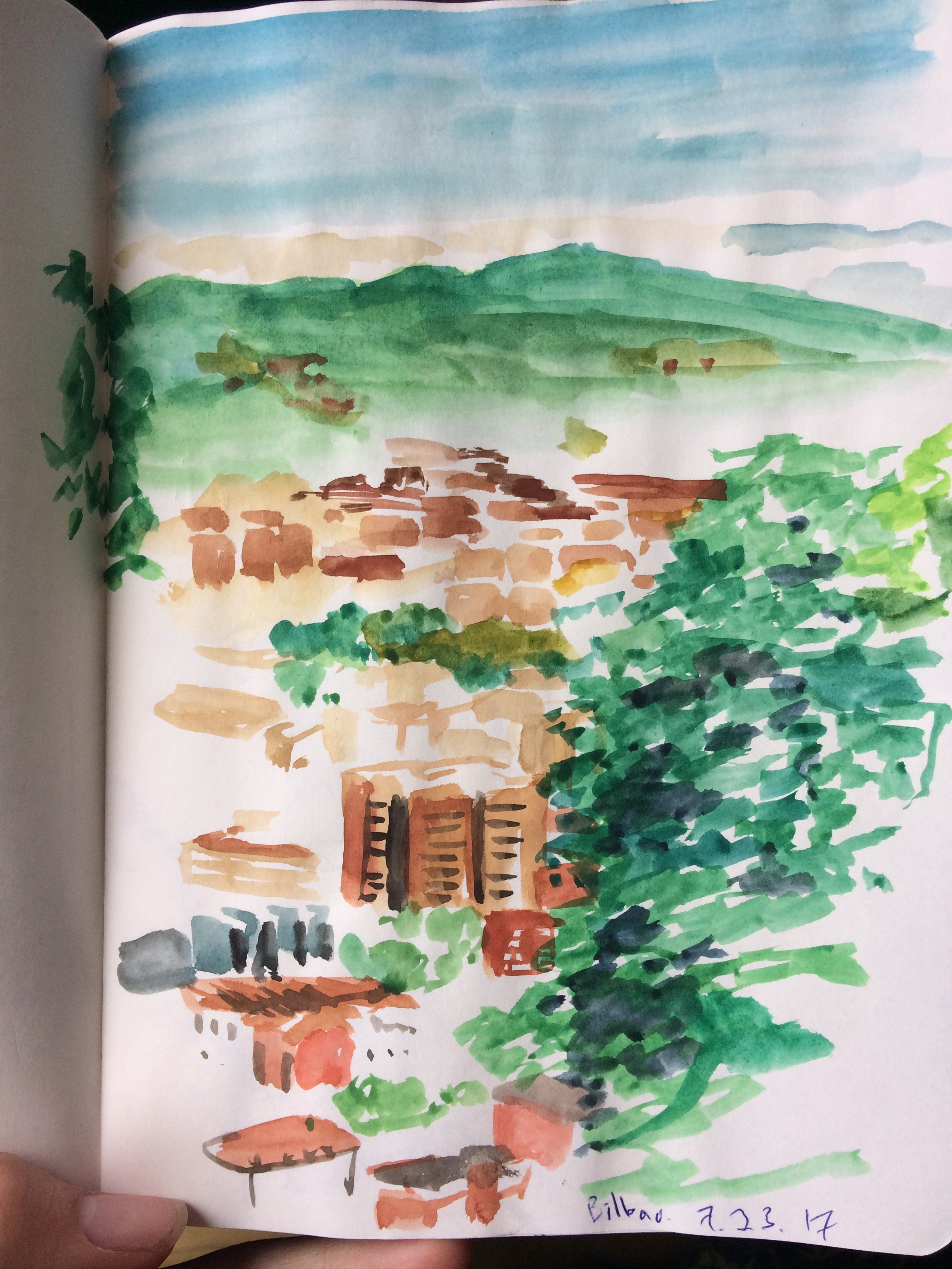 My sketch of Bilbao that evening when I heard important advice.