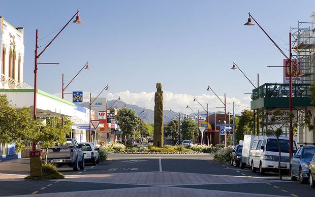 The town centre in Opotiki.