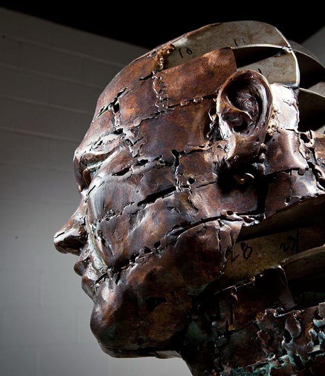 Wild Bill  bronze, stainless steel, and glass from Finding Clarity collection  #metalart#metalsculpture#metal#figurativeart#figurative#figurativesculpture#sculpture#bronzesculpture#lifesize#art#metalwork#welding#weldart