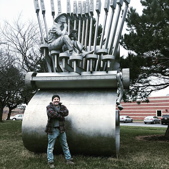 "On father-son road trip home from Wisconsin for the holidays. Stoped by to see an old friend- ""Inspiration""  installed 12 years ago at the Northwest Indiana Times in Munster Indiana. Here's to feeling inspired in the New Year! #stainlesssteelsculpture #publicart #inspiration #feelinginspired #outdoorsculpture #northwestindianatimes #roadtripart #artjournalism #indianaart #sculpture #monumentalsculpture"
