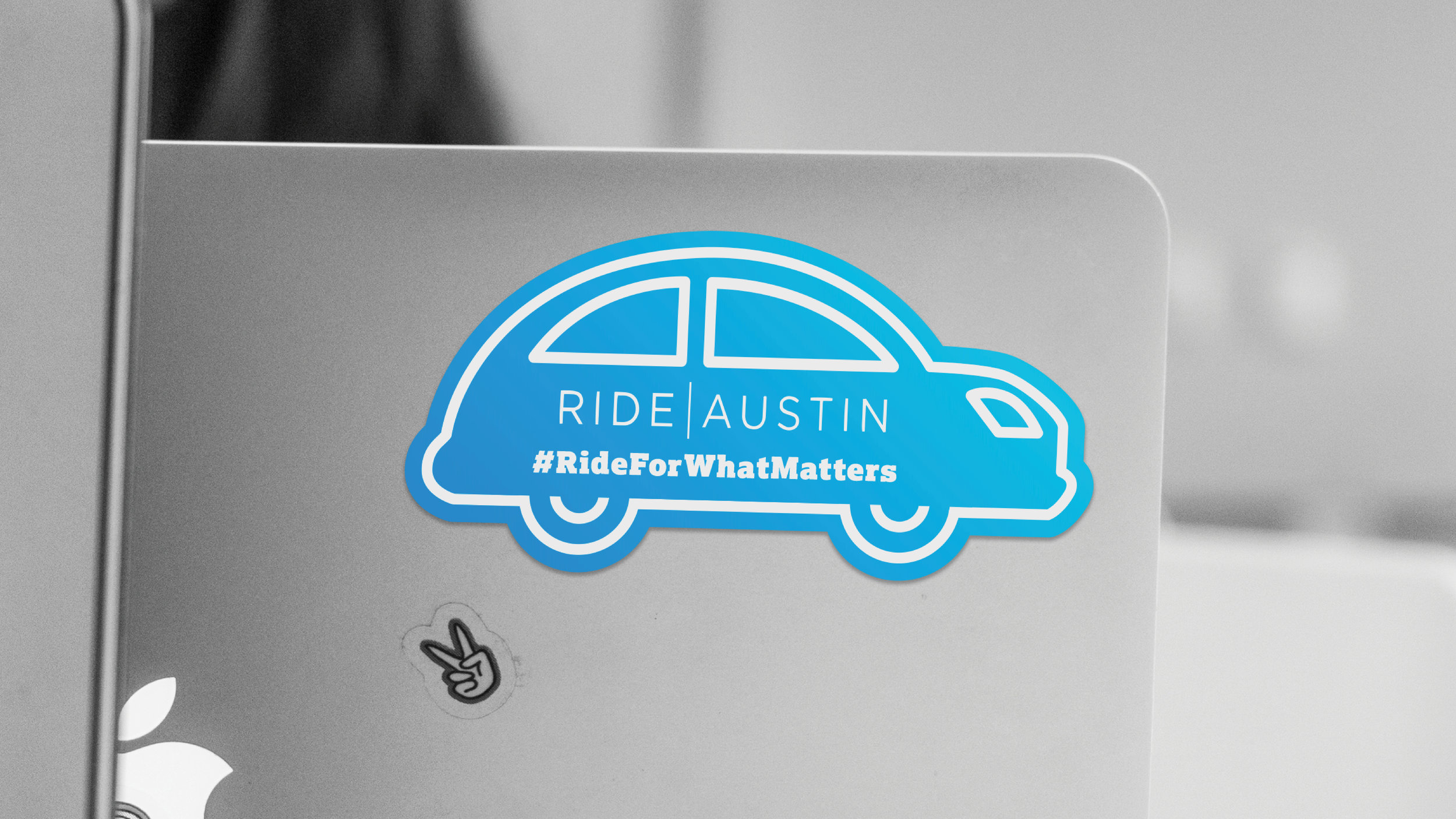 We designed custom stickers for RideAustin to pass out at events.