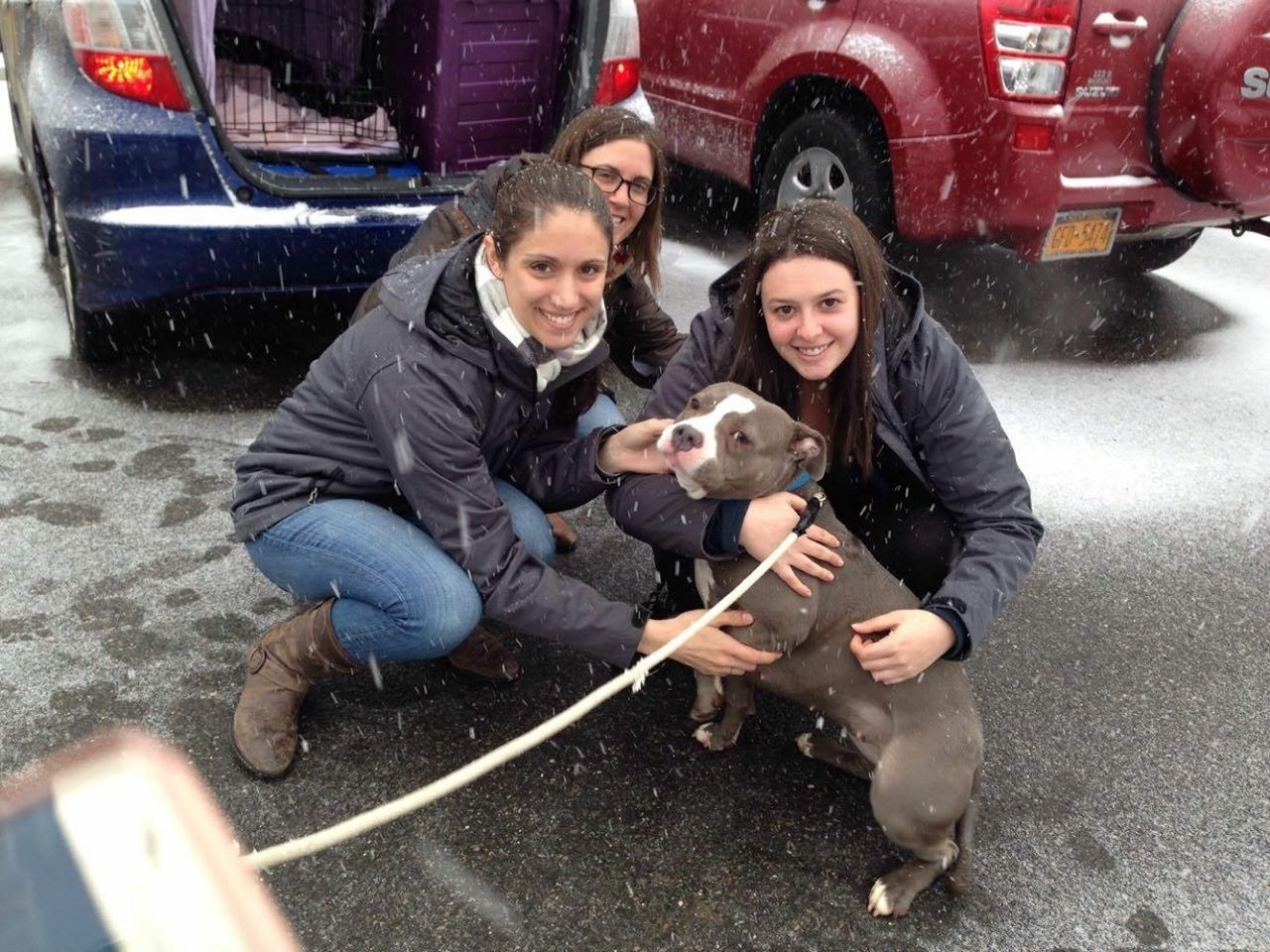 Picking up Charlotte at the shelter (I'm on the right)