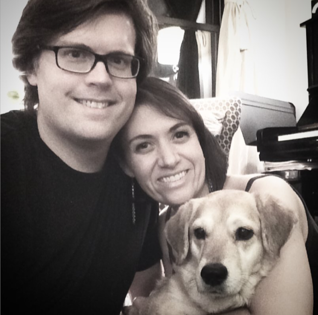 Winnie with her forever family, Scott and Christina @operayogadog