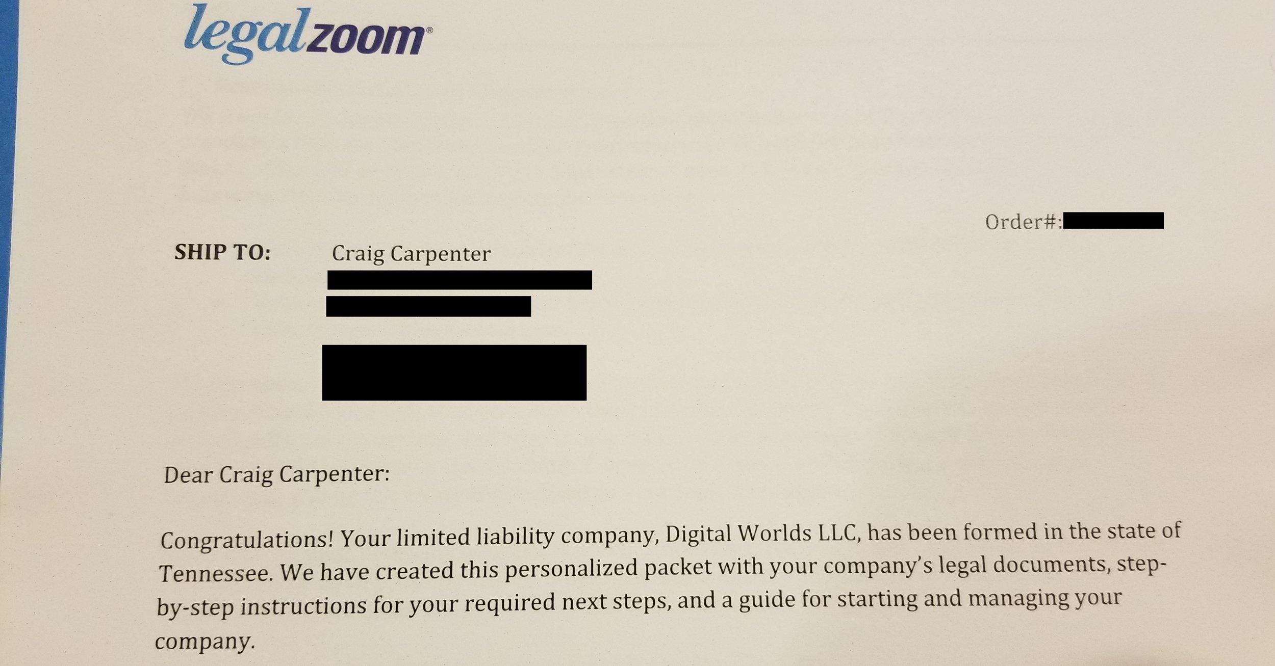 LLC Confirmation Paper Digital Worlds VR Franklin Cool Springs TN Tennessee Virtual Reality Arcade