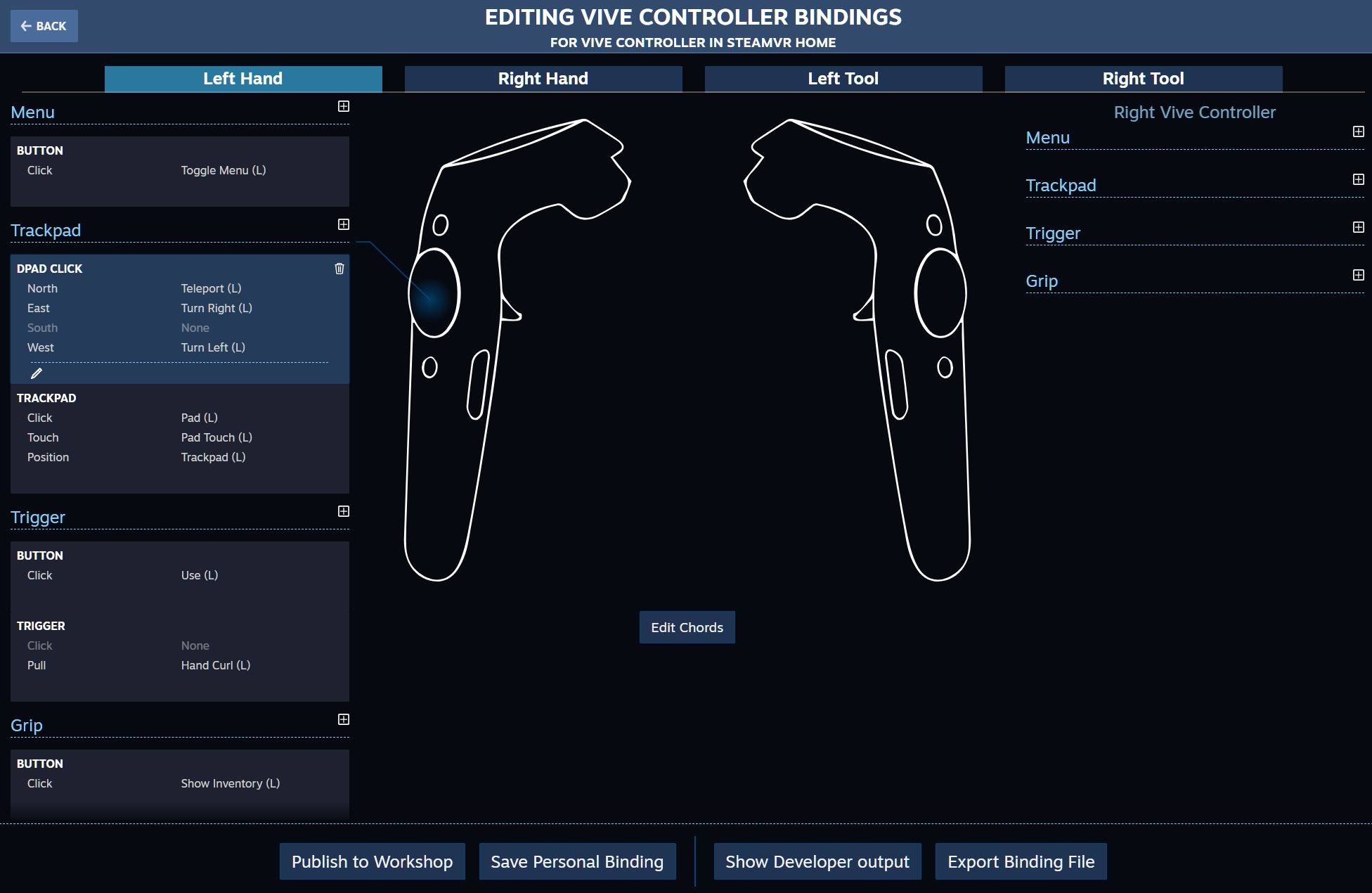 A screenshot of the SteamVR Input UI showing menus available to players of Virtual Reality games on Steam. Image is posted on a blog page for Digital Worlds VR arcade located in Franklin, Cool Springs Tennessee.
