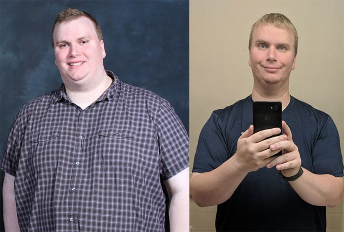 Image of Bill Lindsay in a before and after photo showing the 90 pounds that he lost while playing Virtual Reality.