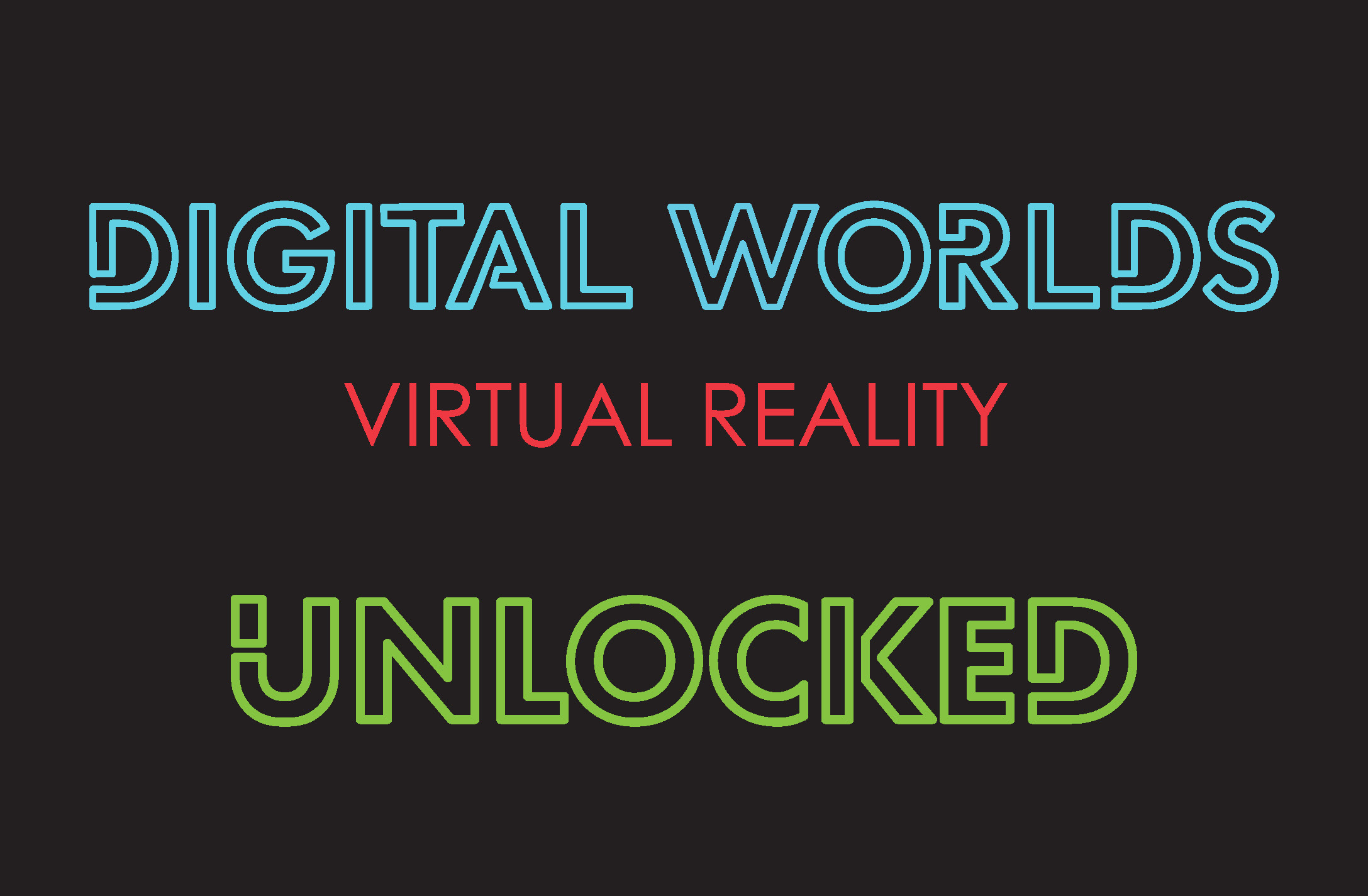 Image of the Digital Worlds Virtual Reality UNLOCKED membership logo for the VR Arcade in Franklin Tennessee.