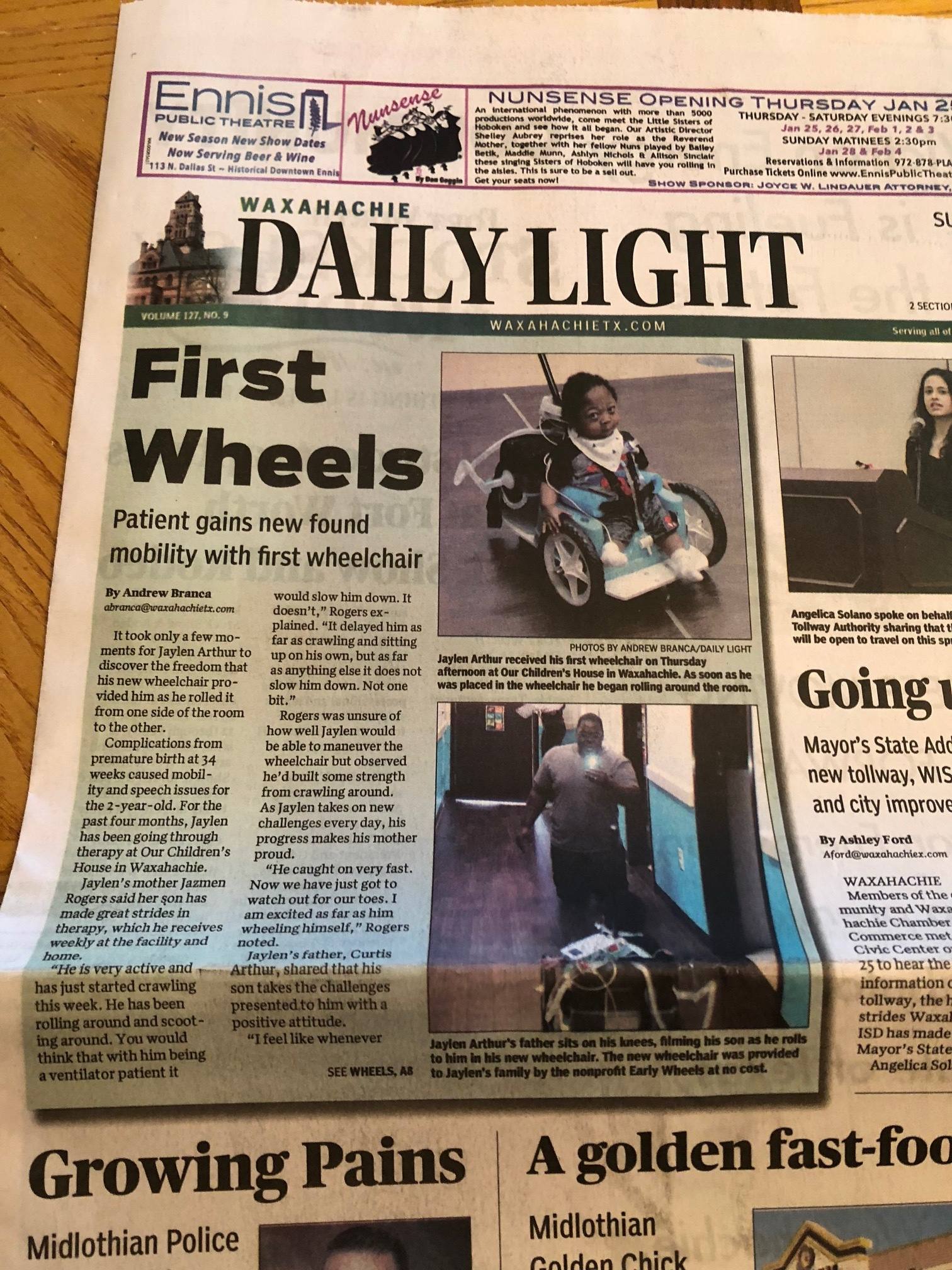 There was an article in a local paper about this sweet boy and Early Wheels!