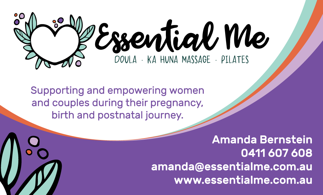 Business Card Doula services sydney, waterbirth, vbac, vba2c, birth journey, ka huna massage, doula meaning birth support
