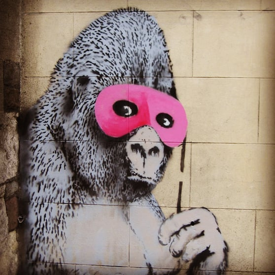 Read an exclusive expose (perhaps) of Banksy's 'Gorilla in a Pink Mask': My Life in Books. Link in bio. #timwarnes #banksy . #mylifeinbooks #streetart #graffiti #bristol #bristolstreetart #illustration #gorilla #gorillaart #kidslit #kidlitillustration