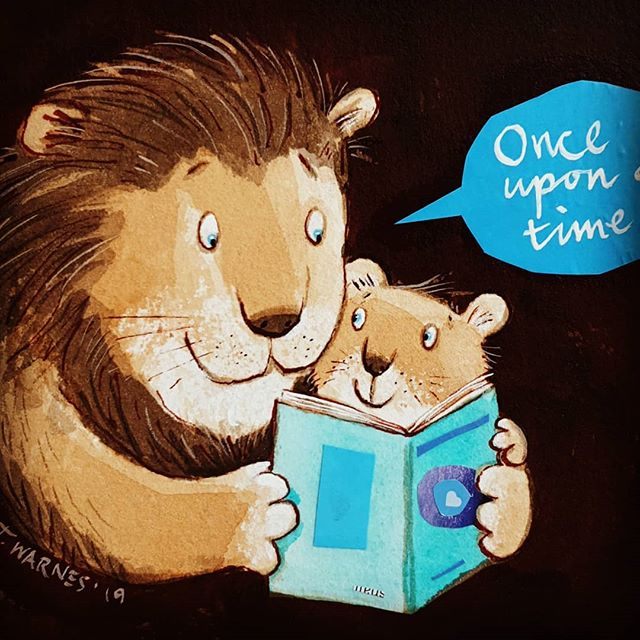 A #fathersday post today on connecting with our kids through books and the #powerofreading- and one son's legacy. Link in bio. #timwarnes #mylifeinbooks .  #jamesonsjoy #randomactsofkindness #kidlitillustration #kidlit #storytime #readingforpleasure #literacy #daddyhug #daddyhugs #hug #intimacy #lionart #harpercollins #kidsbooks #chapmanandwarnes