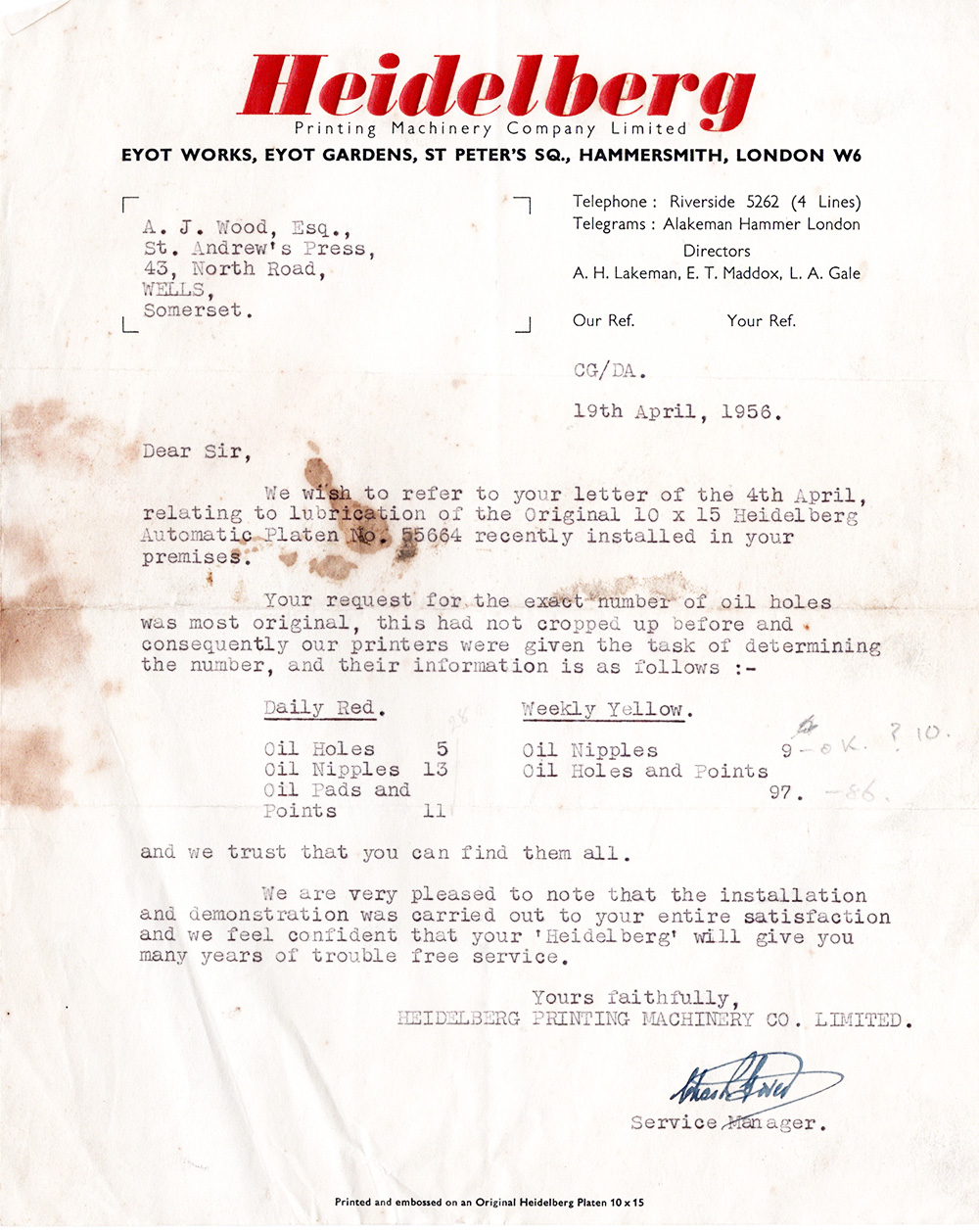 A stickler for detail:  The Heidelberg Service Manager's reply to Arthur's 'most original' enquiry! (Click to enlarge.)