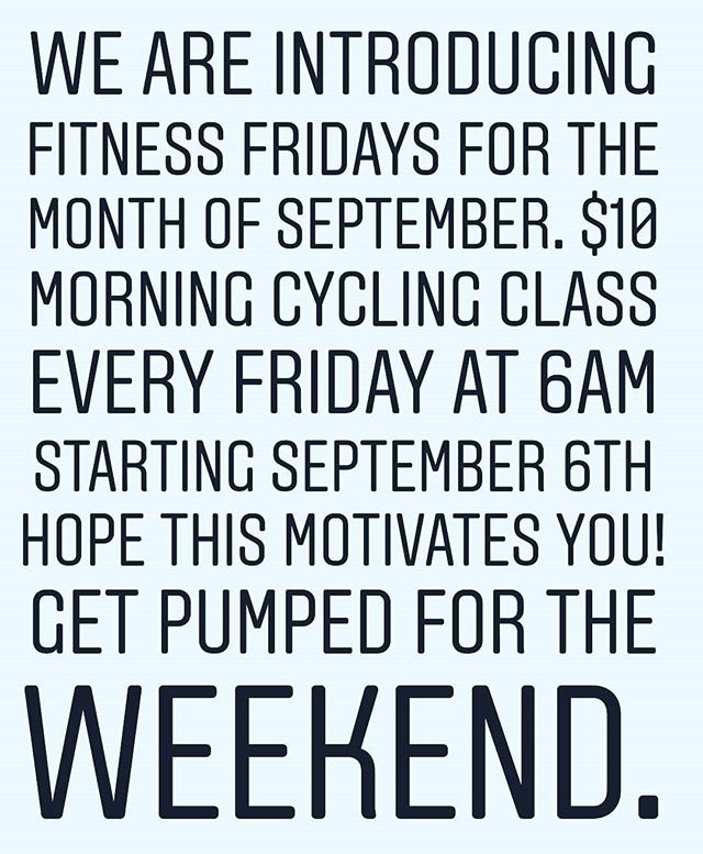 To Sign-up email info@core-fitnessstudios.com subject line Fitness Friday. We'll send you confirmation and further instruction. Must sign-up Thursday night by 11:59pm. #tuckahoe #eastchester #bronxville #scarsdale #pelham #bronxvillemoms #eastchestermoms #pelhammoms #scarsdalemoms #westchesterfitness #westchesterny #cycling #spin #spinclass #workout #fitness #wellness #westchester #yonkers #yonkersmoms