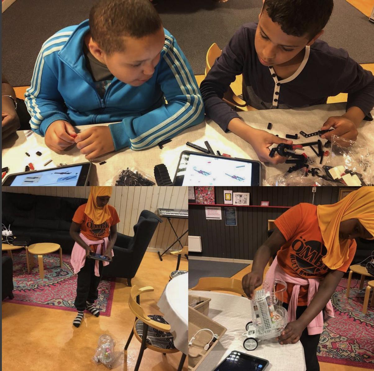 En av de aktiviteter du kan göra hos oss är att bygga och programmera robotar.