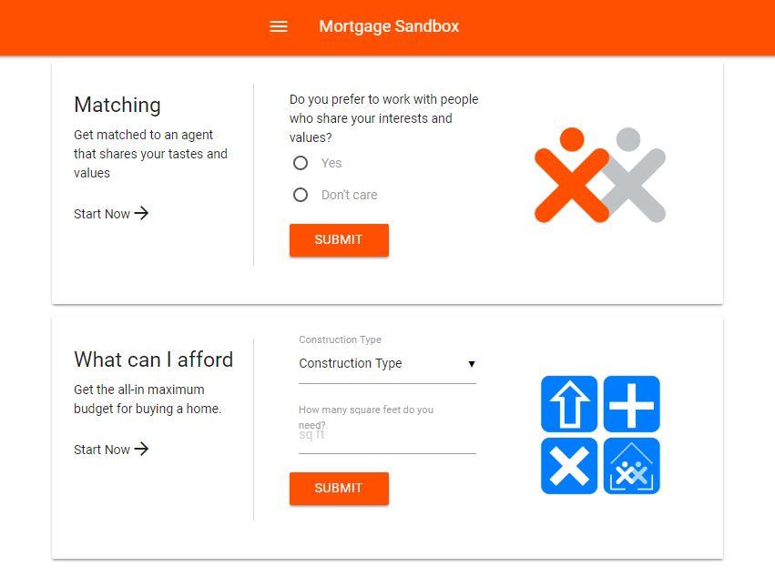 Mortgage Sandbox Platform Landing Page