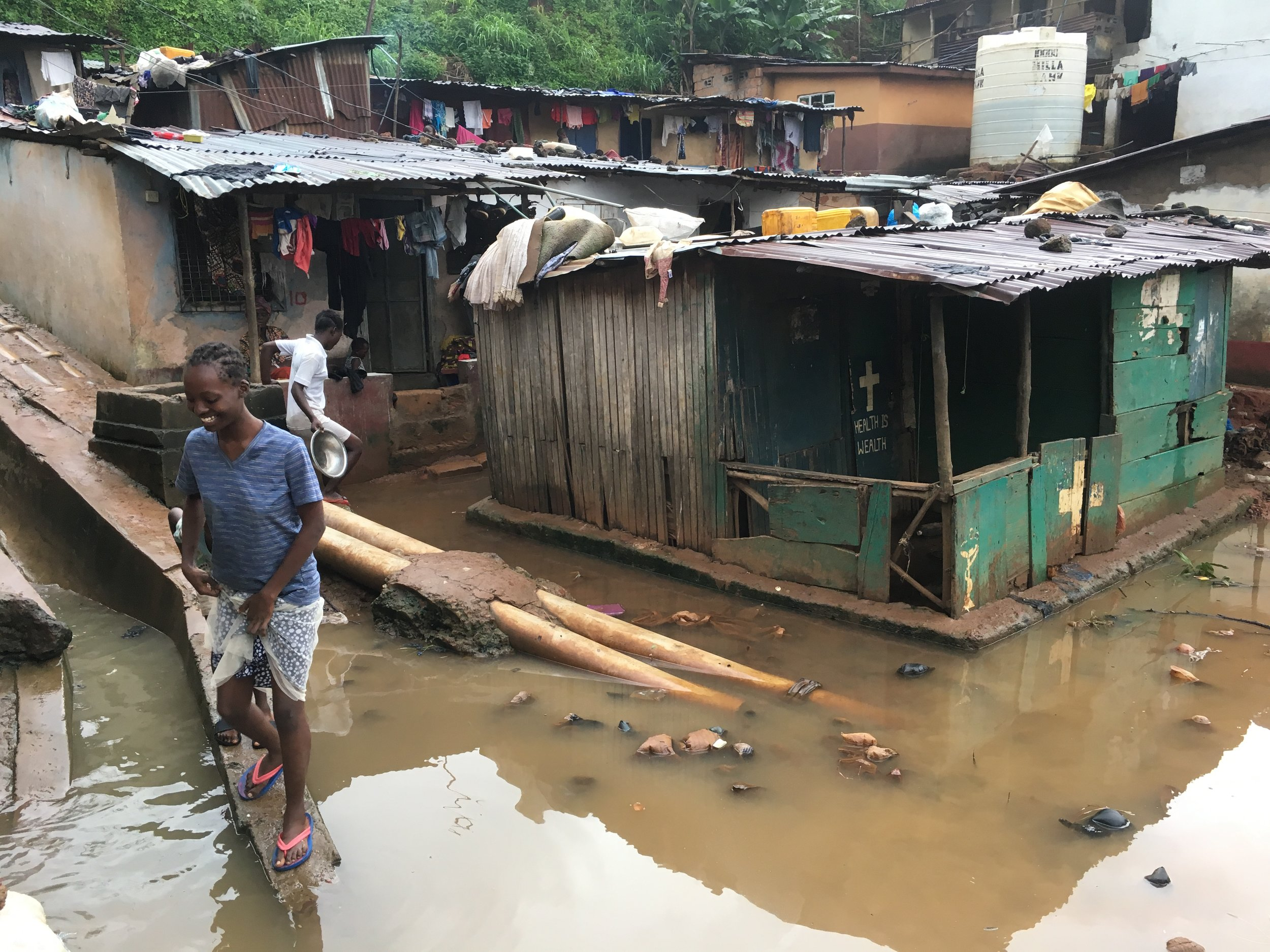 Water polluted with dead animals, diapers, and flooded toilets increases the risk of cholera and other water born diseases