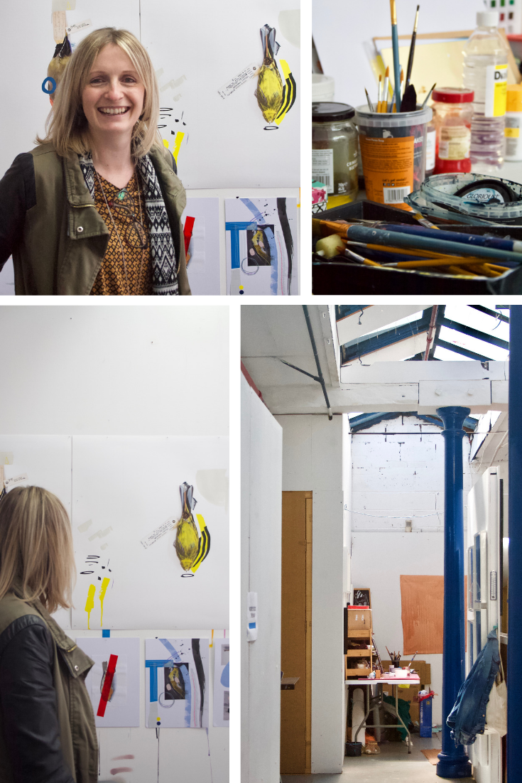 Clockwise from top left: Lucy with work from her upcoming exhibition; tools and paints; inside StudionAme; Lucy with her colour palette.