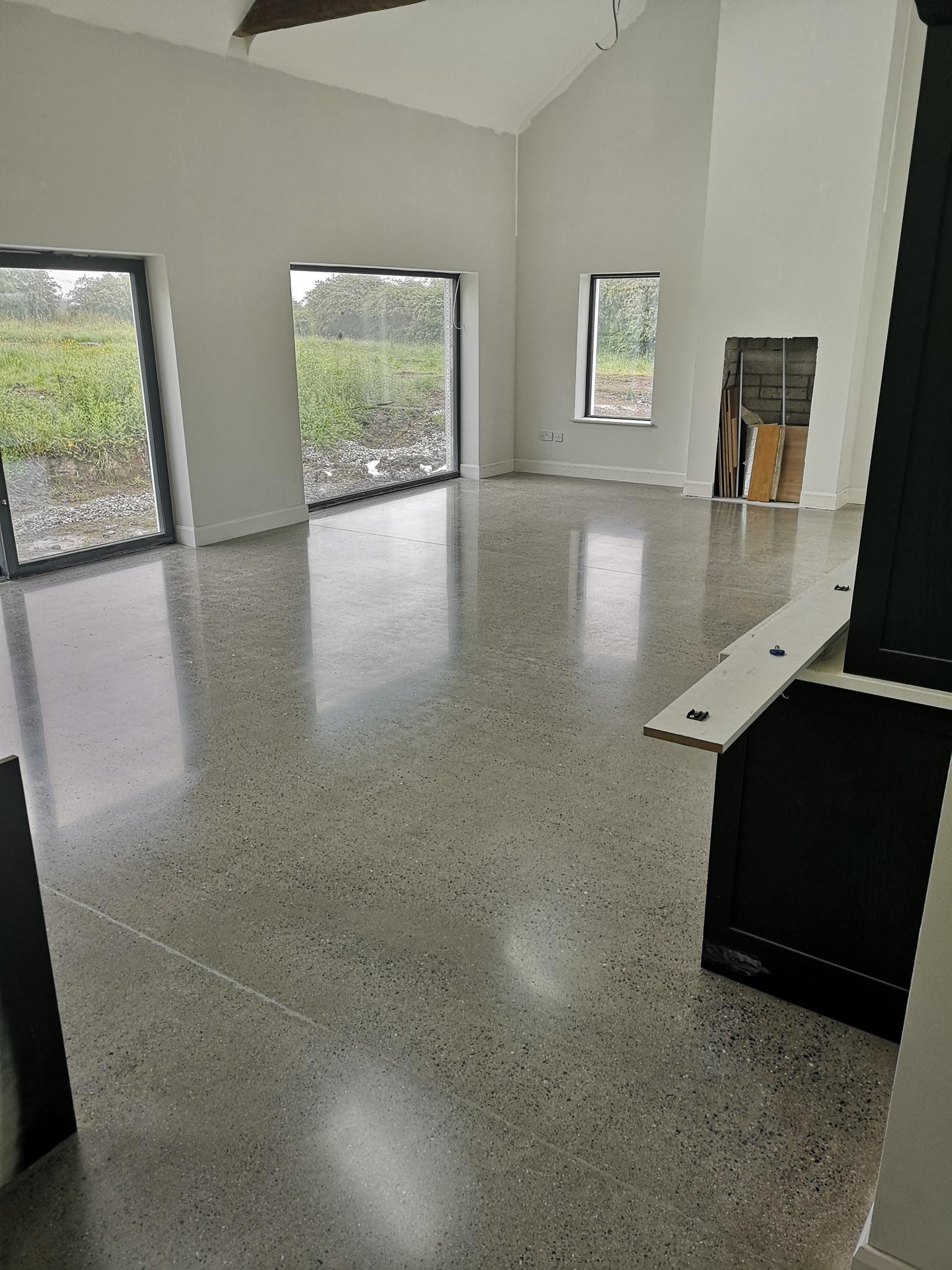 Concrete Kitchen floor in semi gloss finish