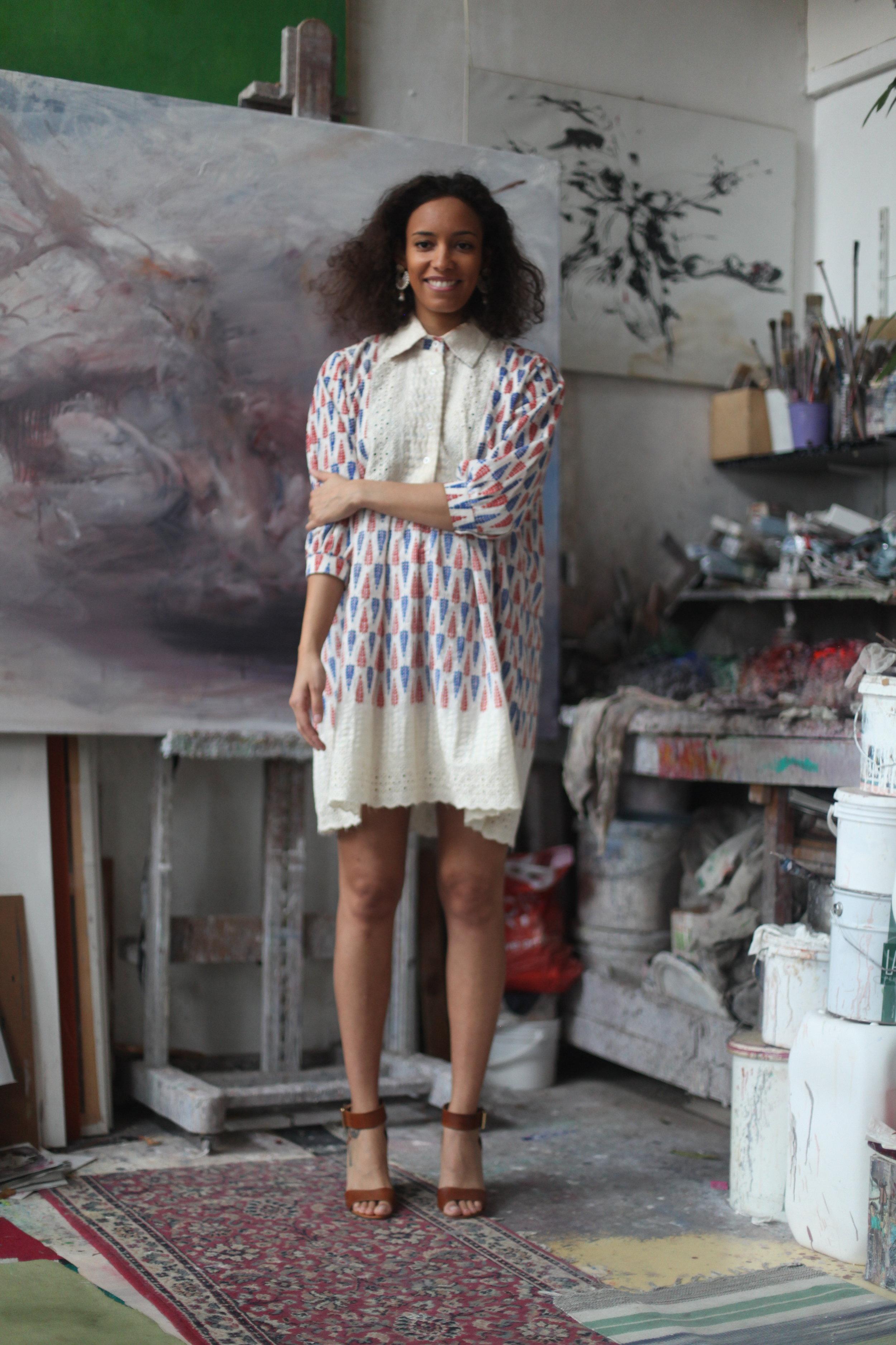 CHITRI WHITE DRESS100% BENGALI COTTON -