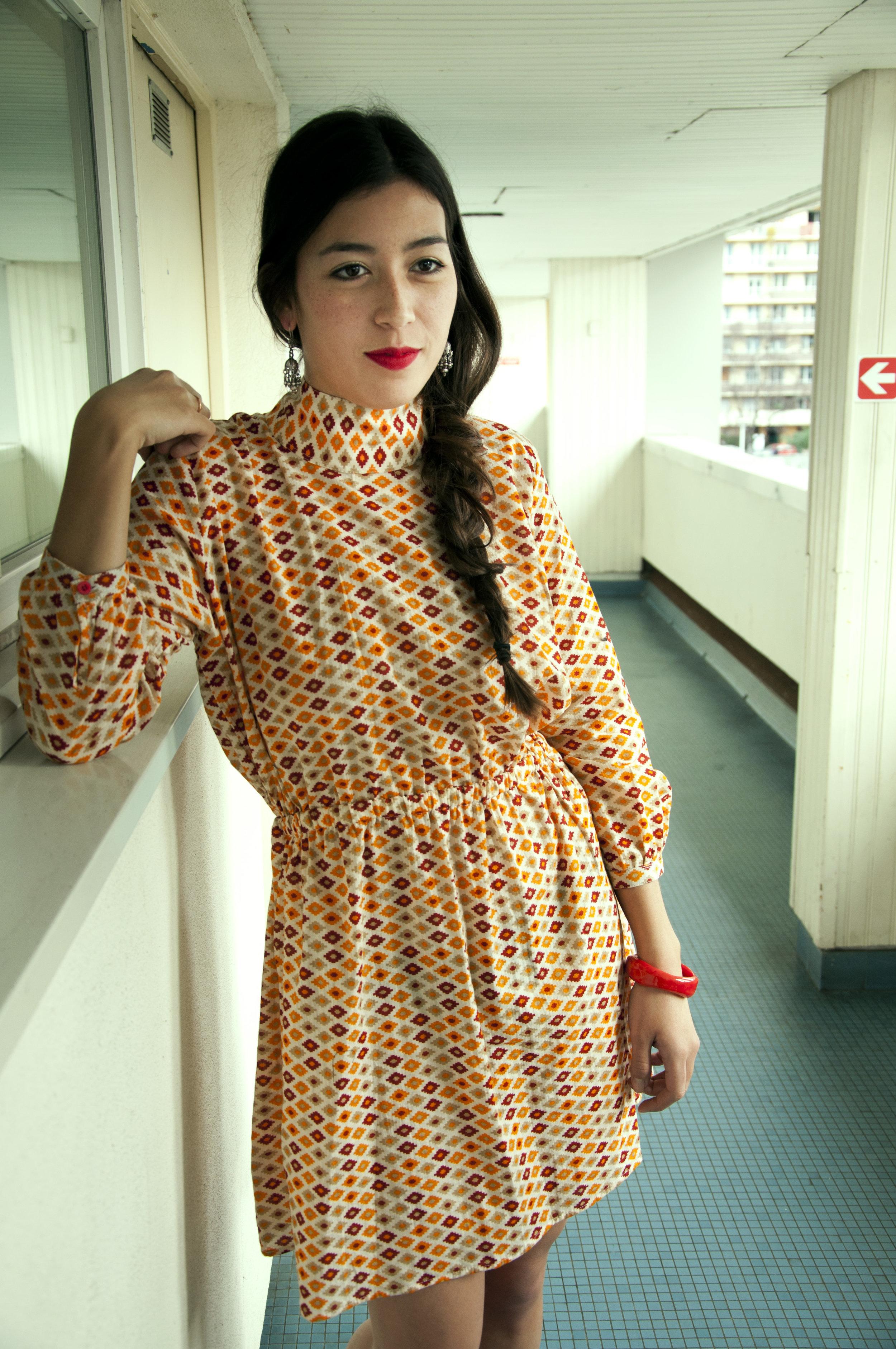 ALINE ORANGE DRESS100% BENGALI COTTON -