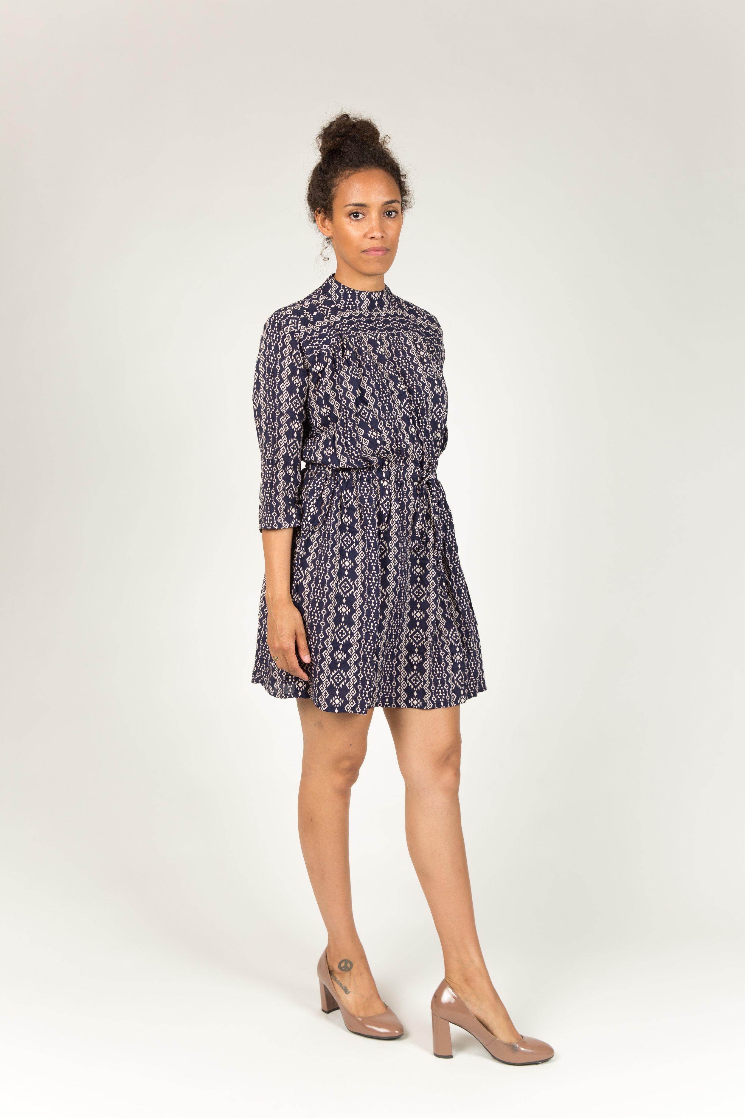 ALINE DARK BLUE DRESS100% COTTON -
