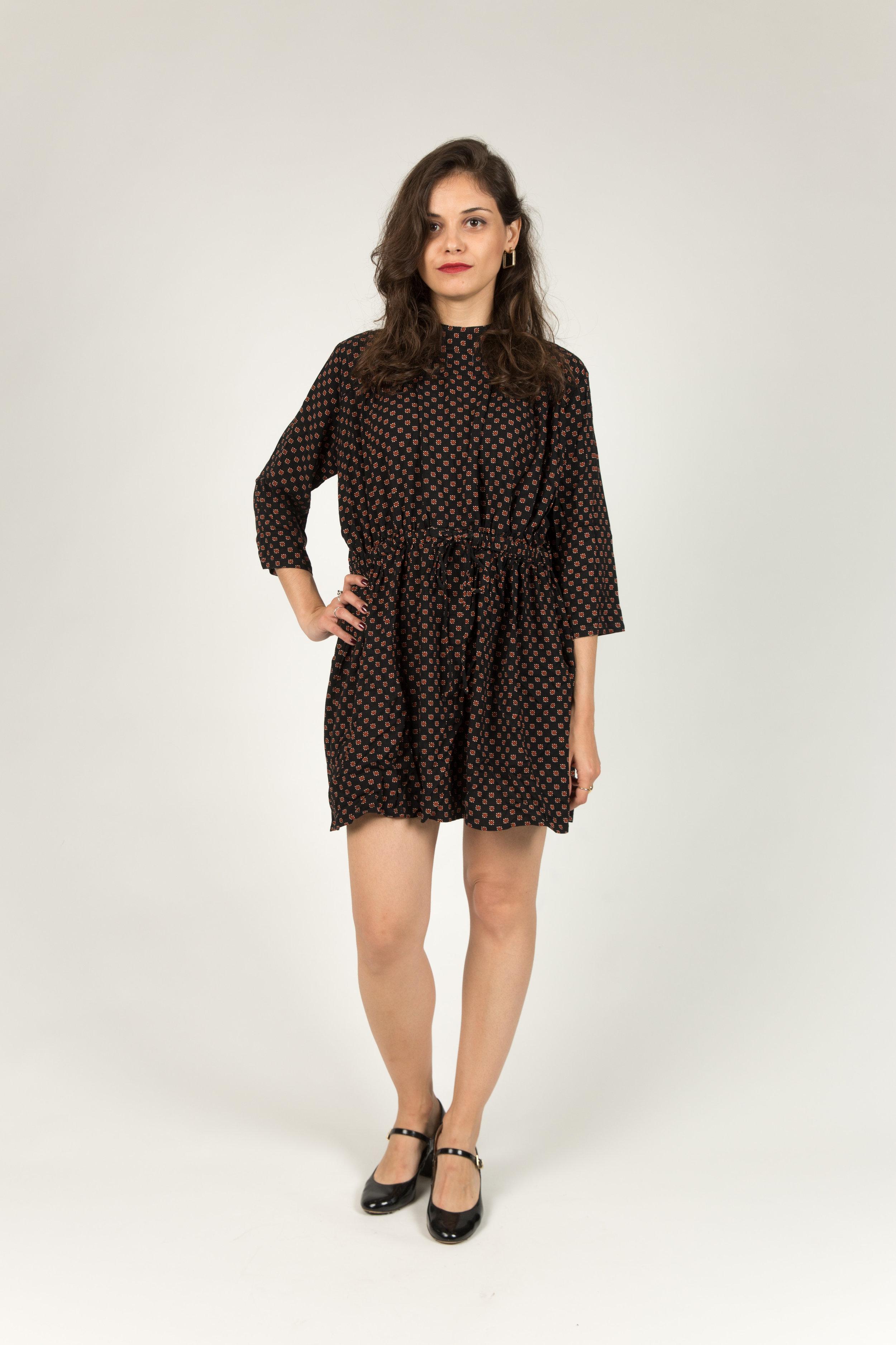 ALINE BLACK DRESS100% COTTON -
