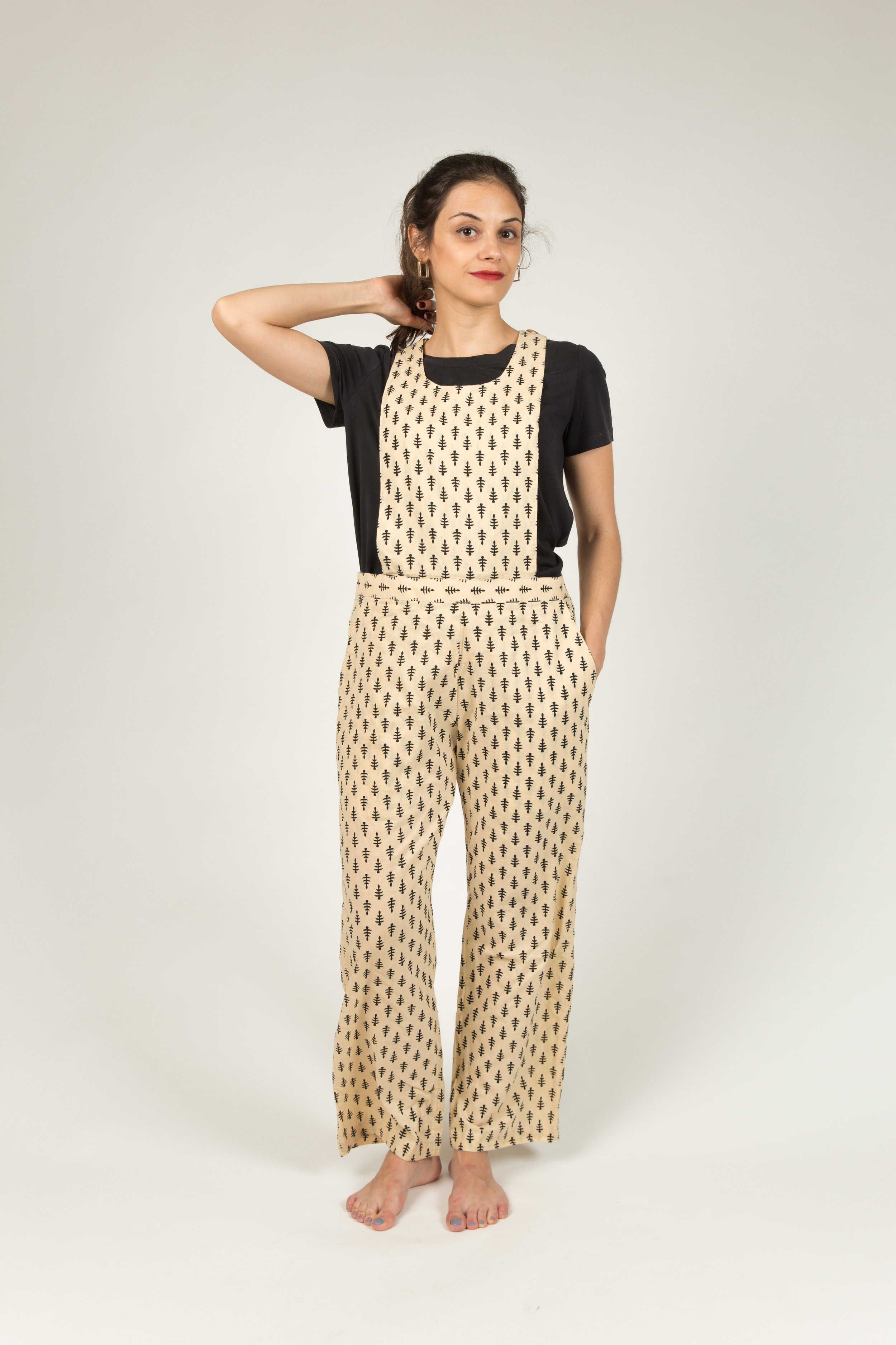 BECKY BLACK AND WHITE OVERALL100% BENGALI COTTON -