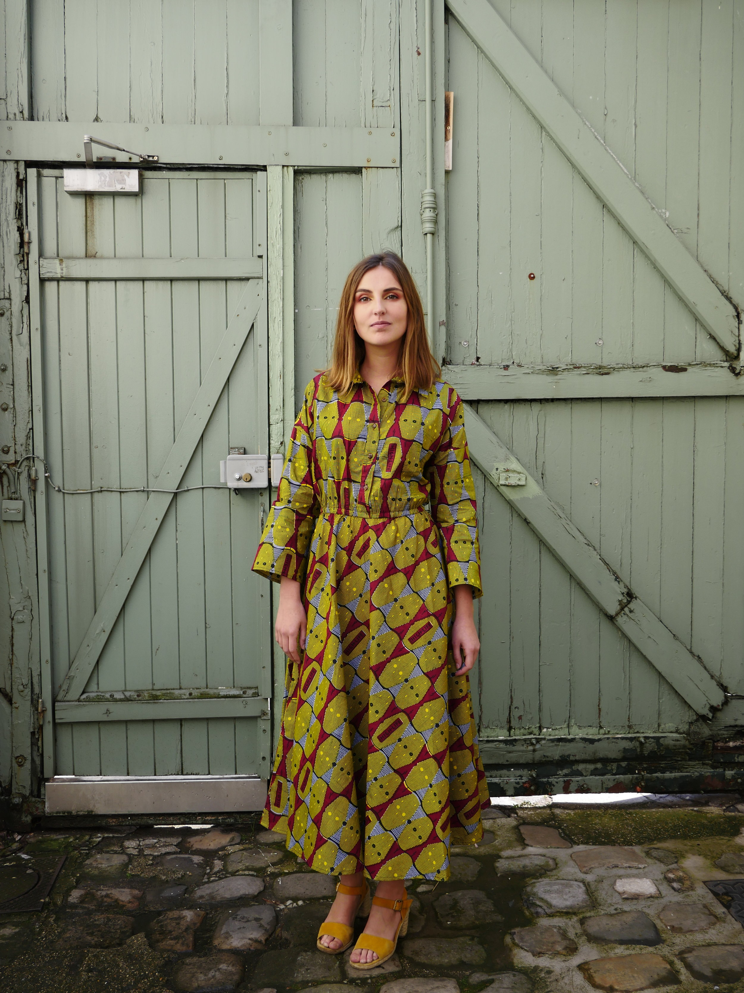 Ana Yellow Long Dress - Waxed cotton bought in Senegal, made in Bangladesh with love