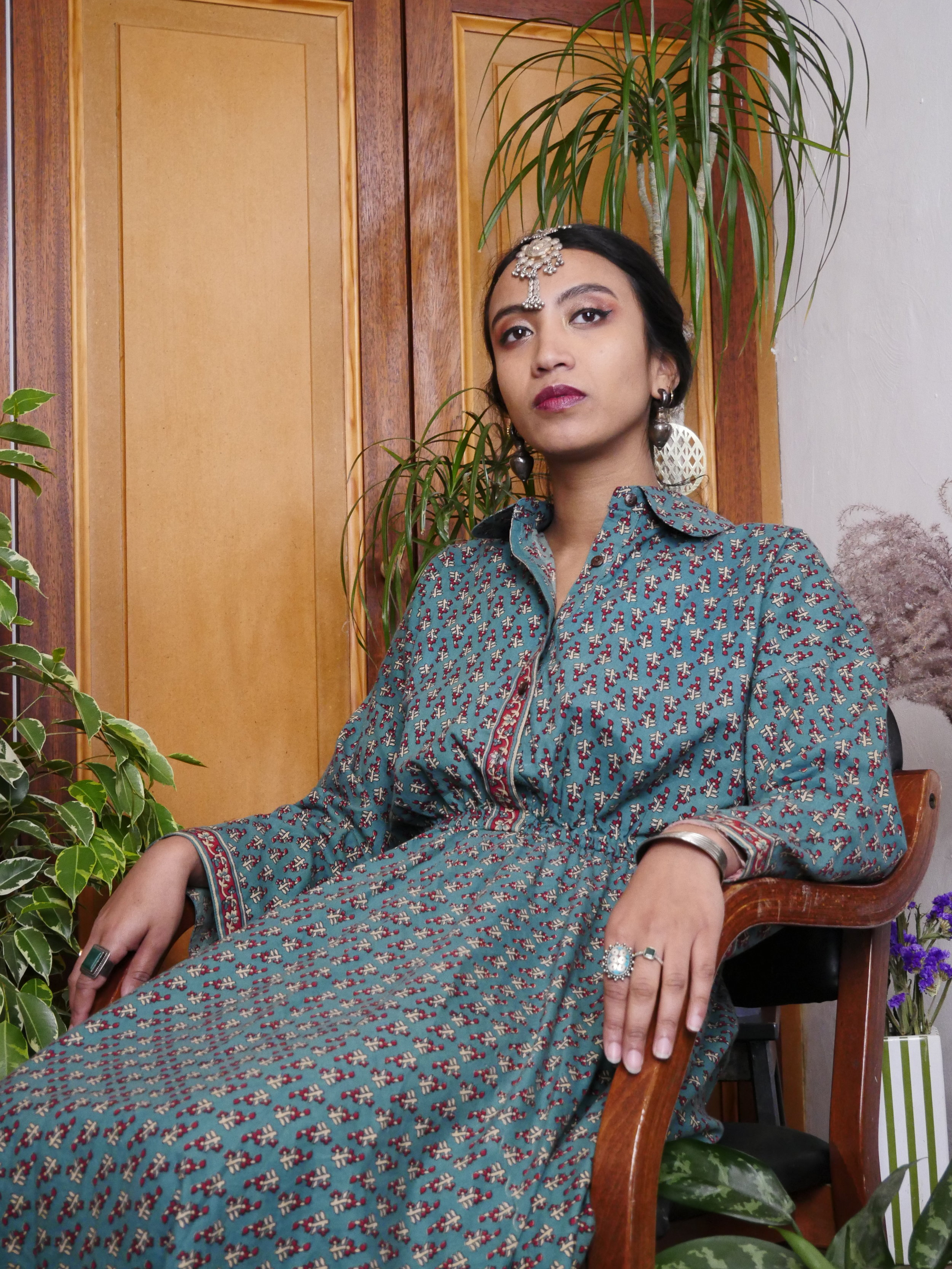 ANA BLUE WATER LONG DRESS - 100% Indian cotton, Made in Bangladesh with love