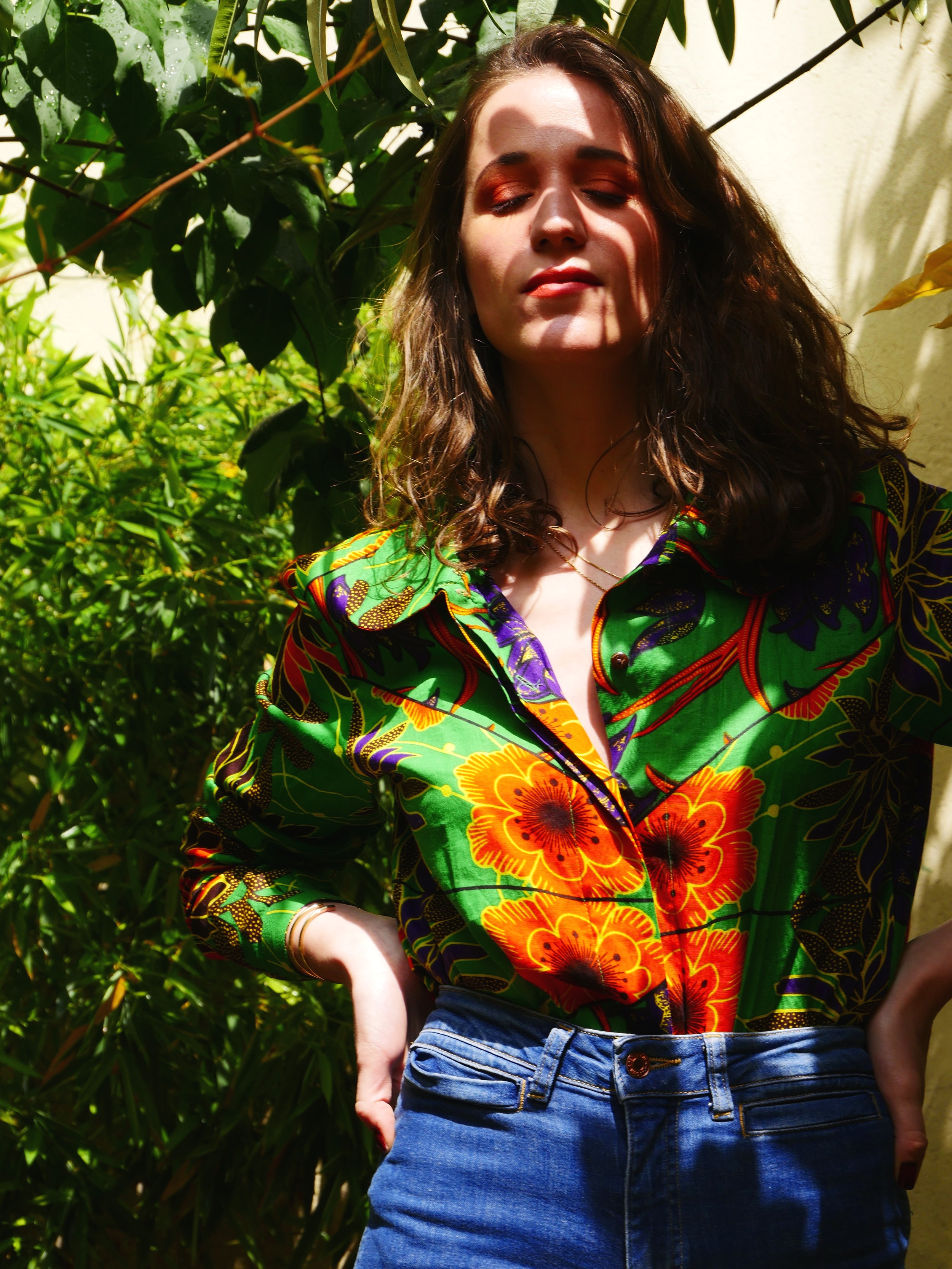 Eugenie Green Wax Top - Waxed cotton bought in Senegal, Made in Bangladesh with love