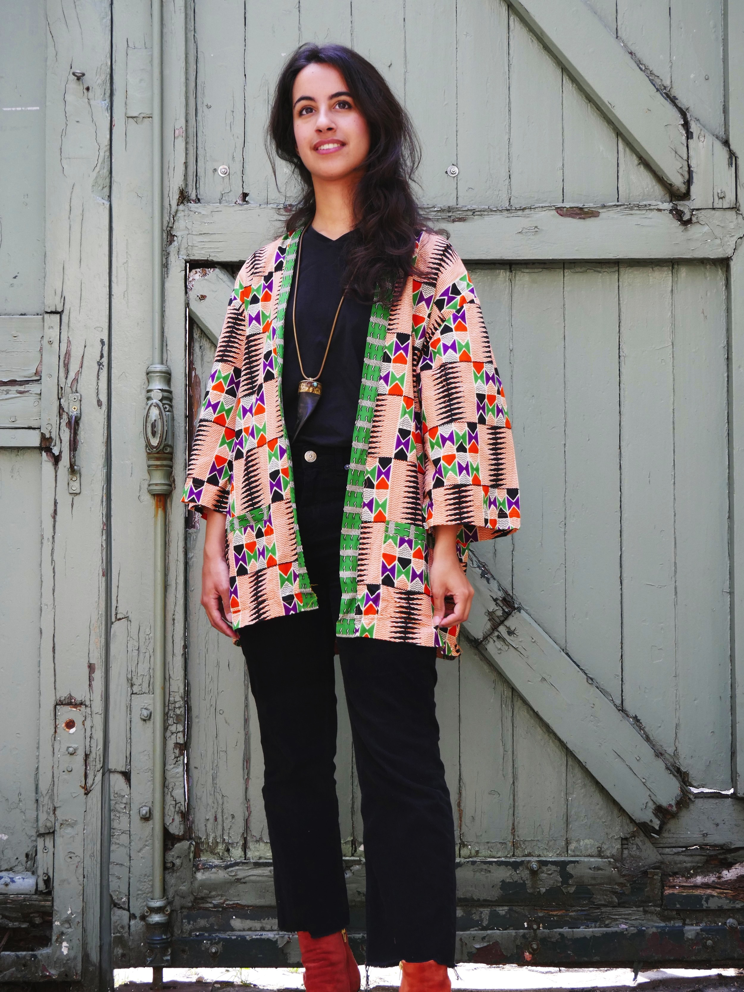 Melissa Orange Wax Kimono - Waxed cotton bought in Senegal, made in Bangladesh with love