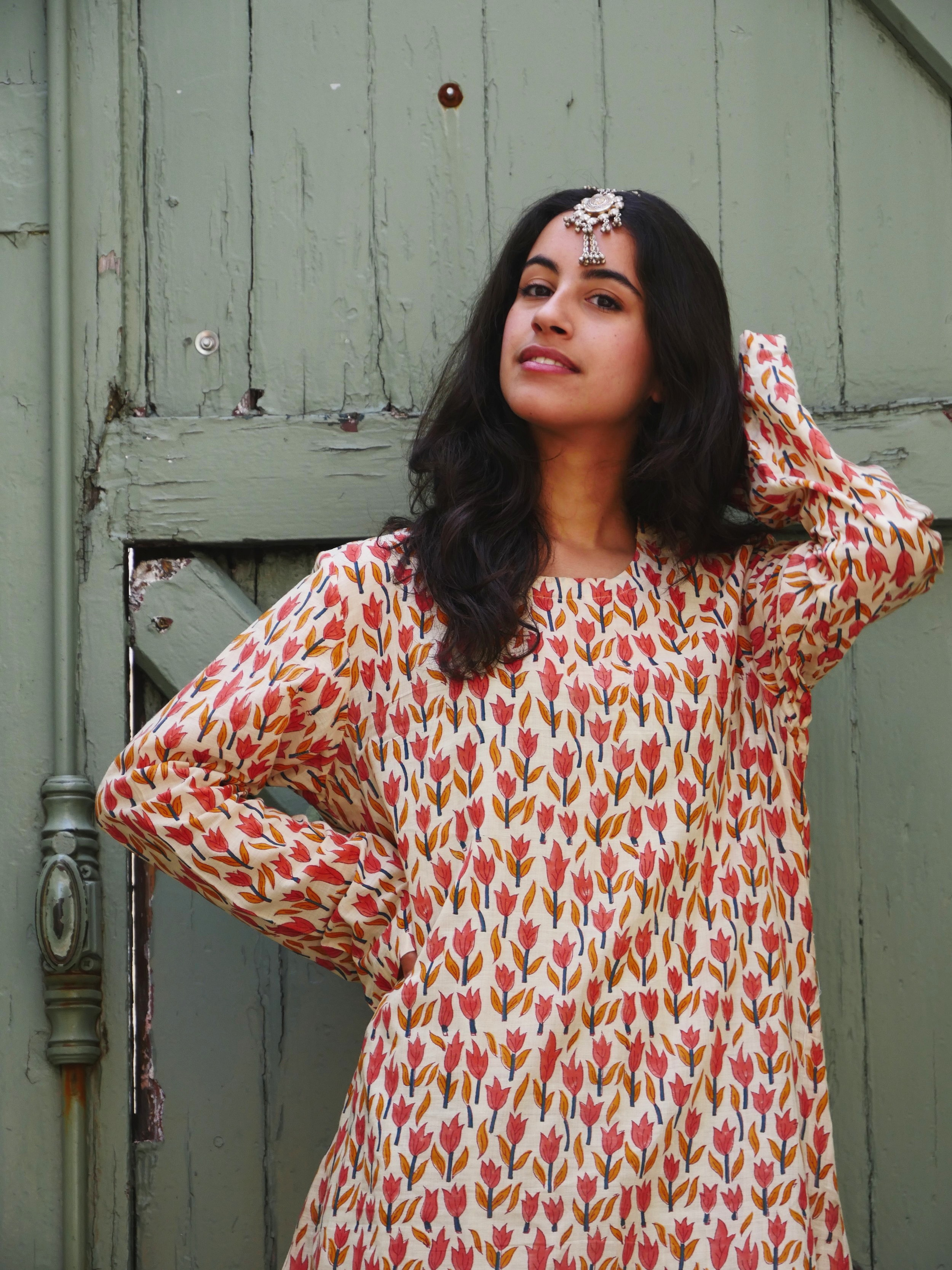 Sarah Pink Flower Dress - Indian Cotton, made in Bangladesh with love