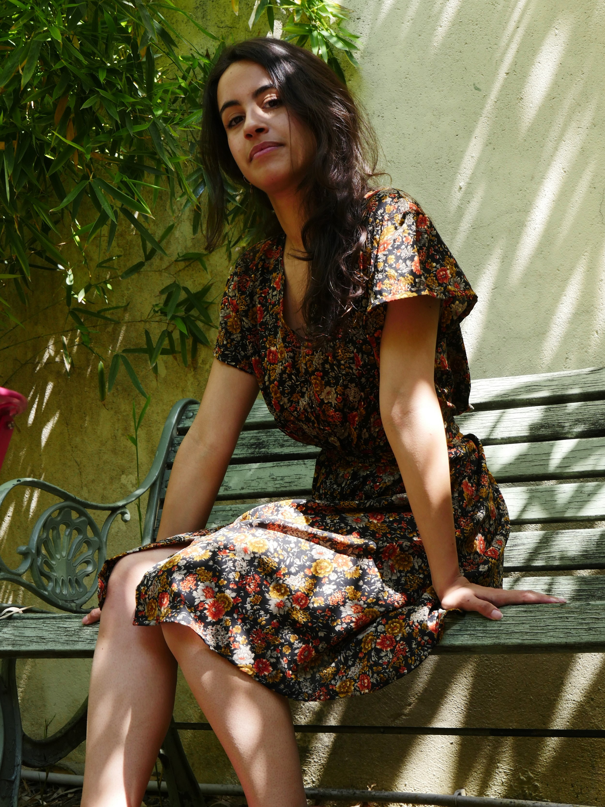 Aby Black Floral Dress - 100% Indian Silk