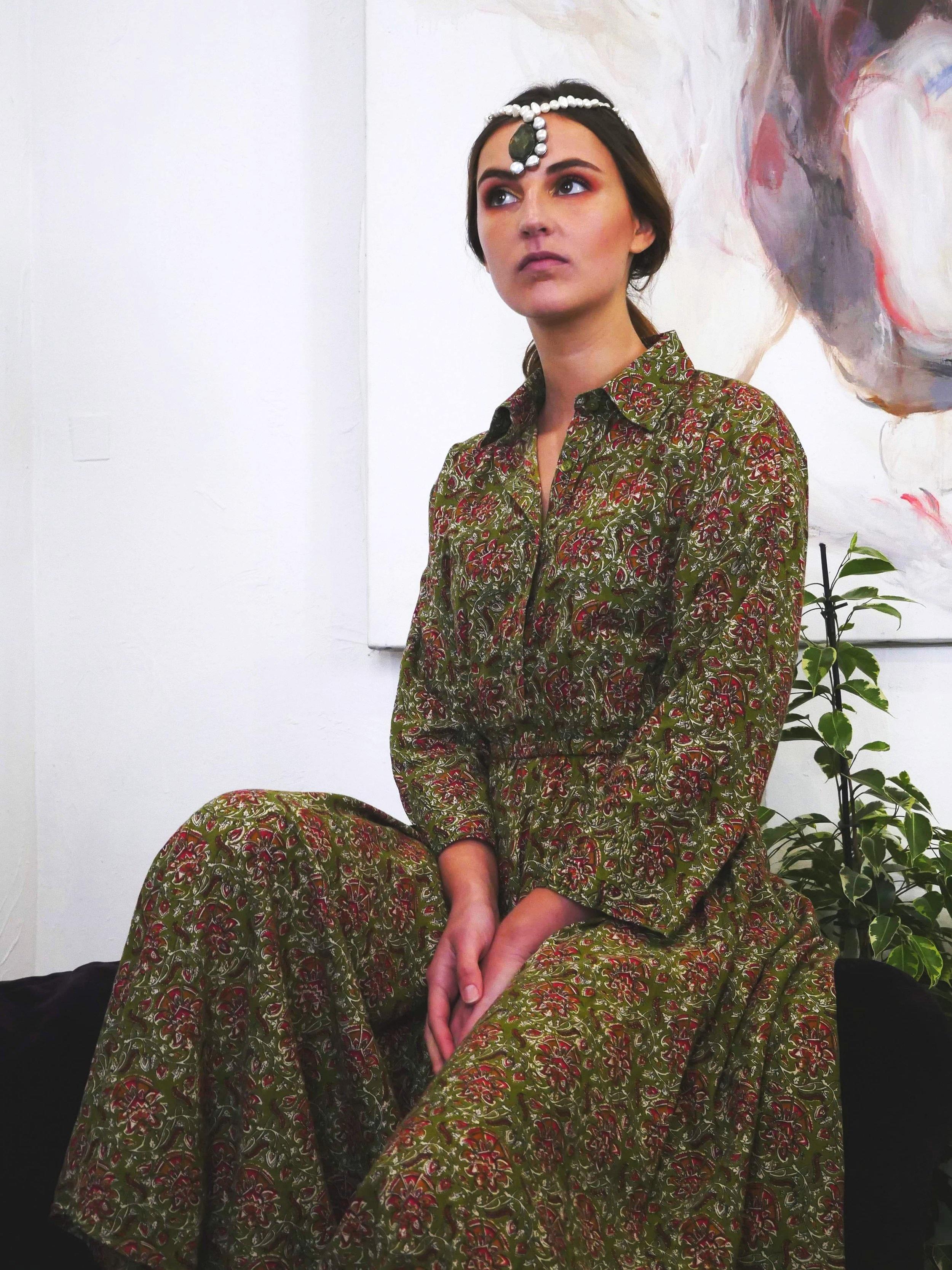 ANA KAKI LONG DRESS - 100% Indian Cotton, Made in Bangladesh with love