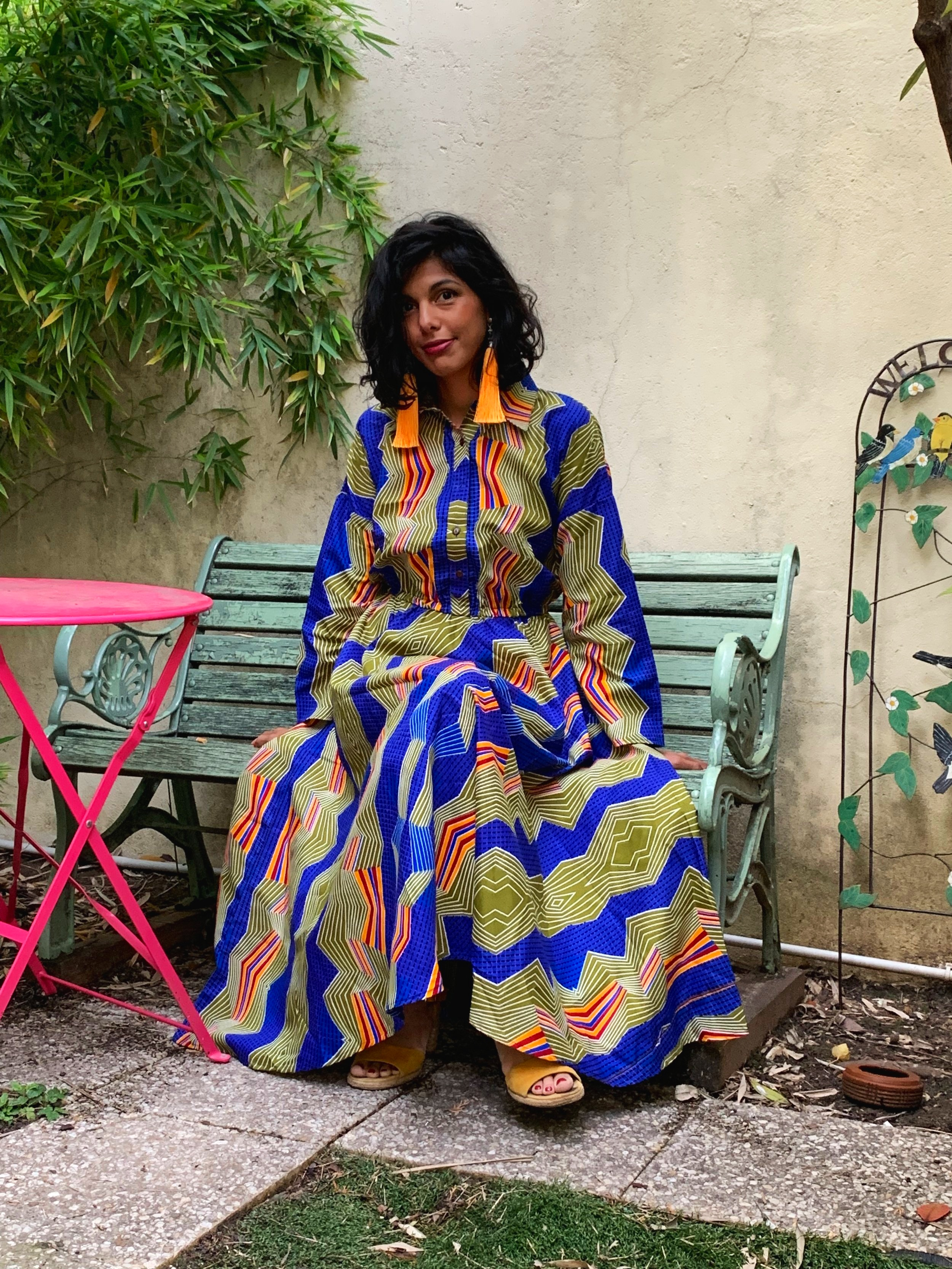 Ana Blue Wax Long Dress - Waxec cotton bought in Senegal, made in Bangladesh with love