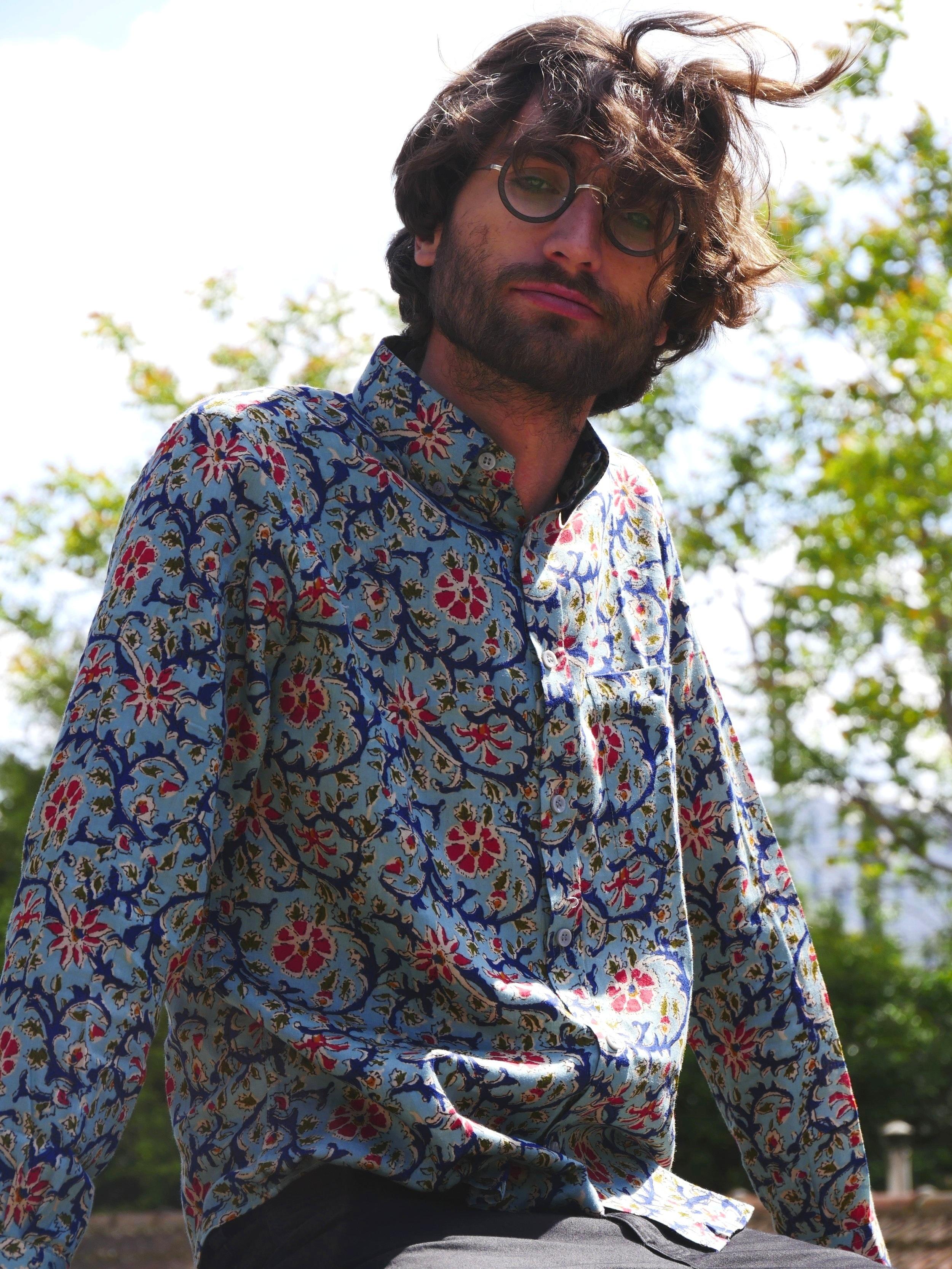 Basile Blue Alpana Shirt - 100% Indian cotton, made in Bangladesh with love