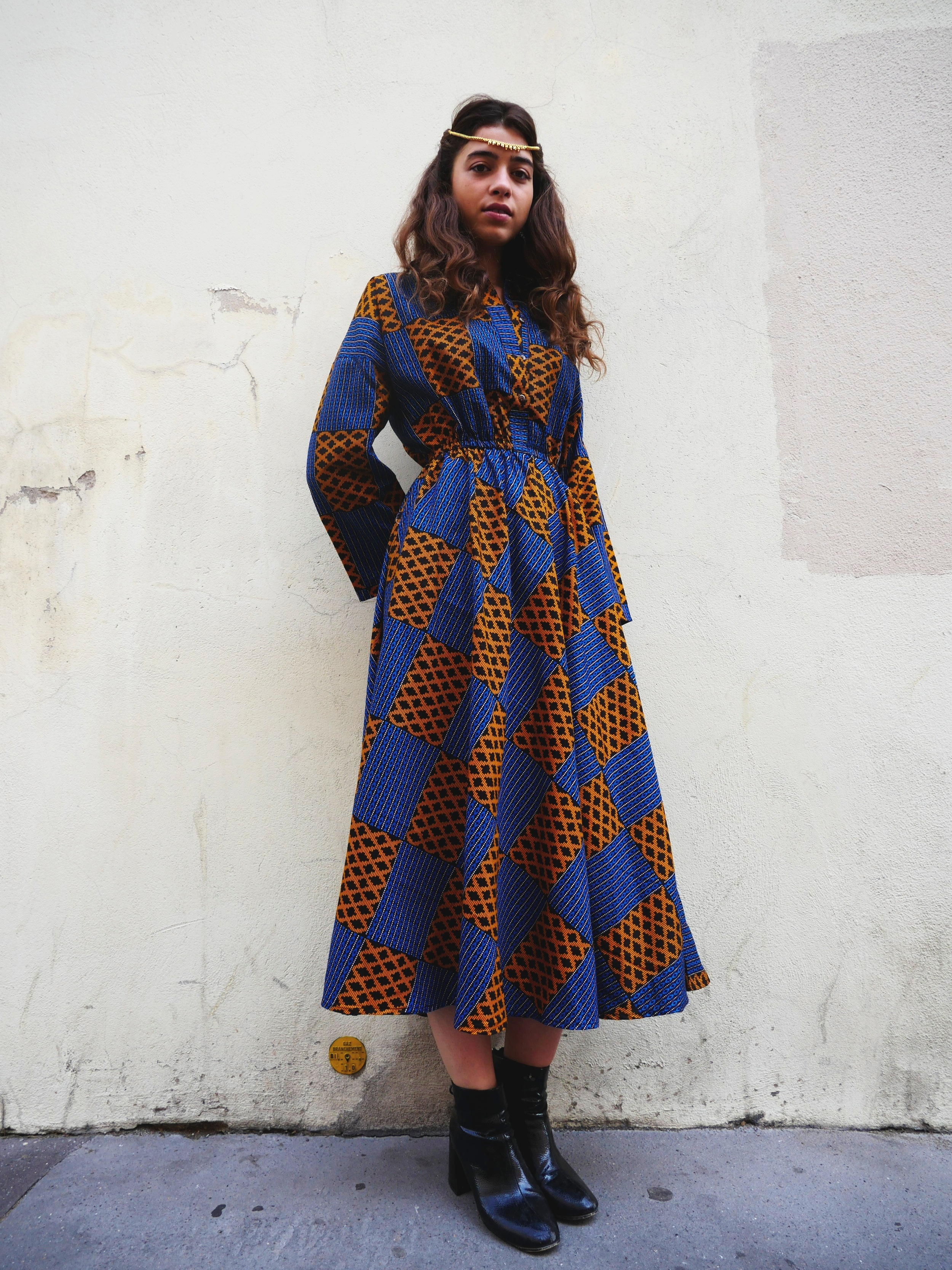 Ana Orange Blue Wax Dress - Waxed cotton bought in Senegal, made in Bangladesh with love