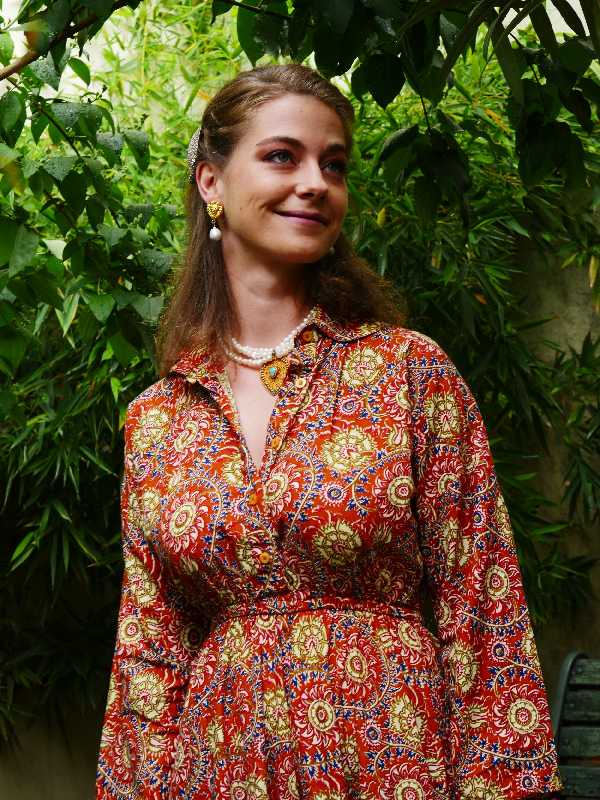 Ana Orange Long Dress - 100% Indian cotton, made in Bangladesh with love