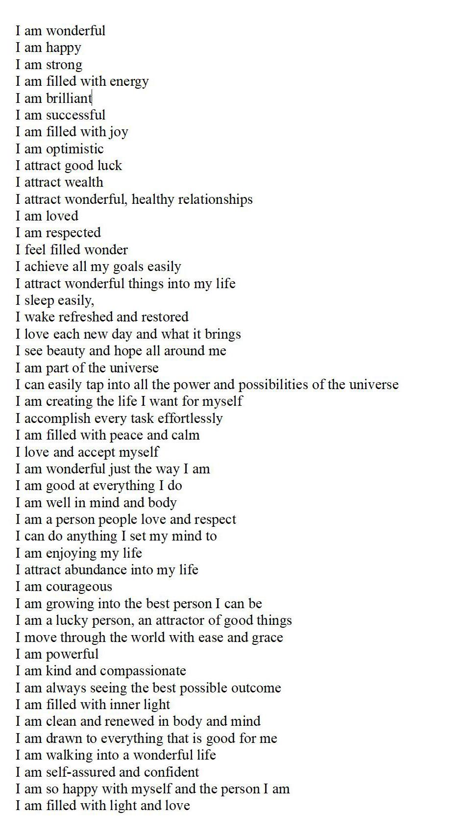 I am list of affirmations